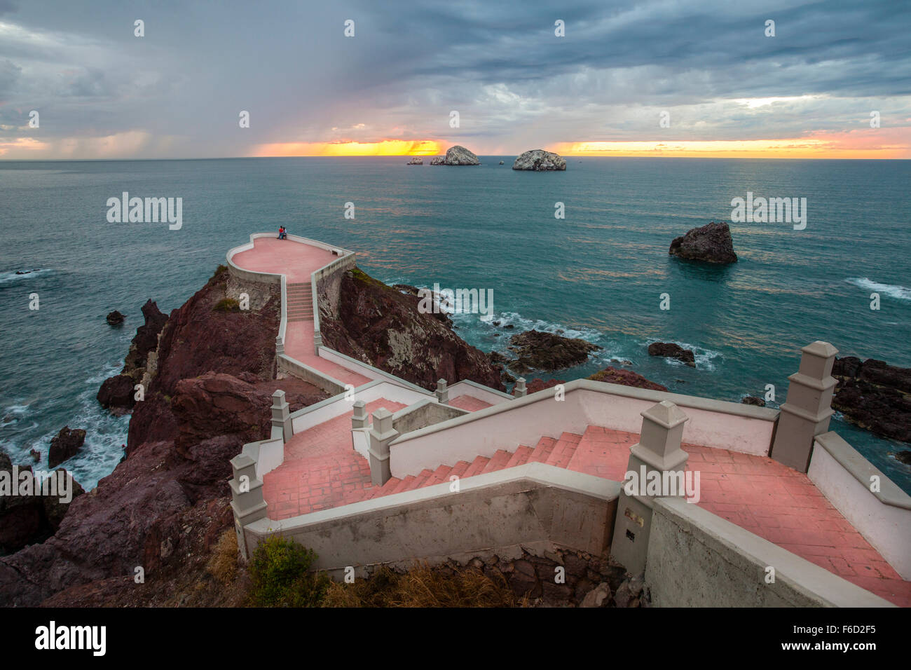 Sunset from the lookout near the lighthouse in Mazatlan, Sinaloa, Mexico. - Stock Image