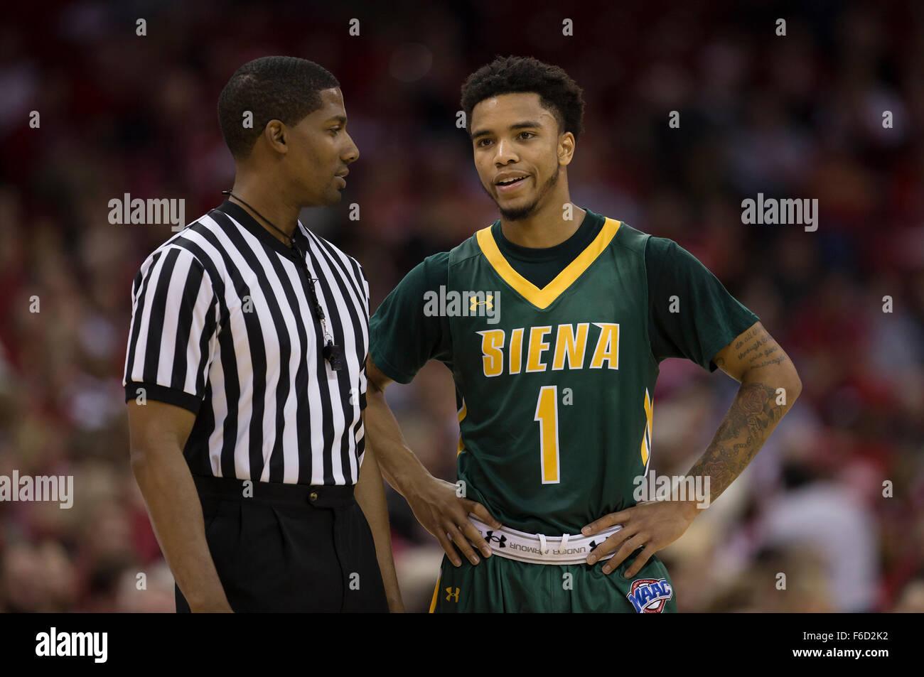 buy online a6239 80e15 Madison, WI, USA. 15th Nov, 2015. Siena Saints guard Marquis ...