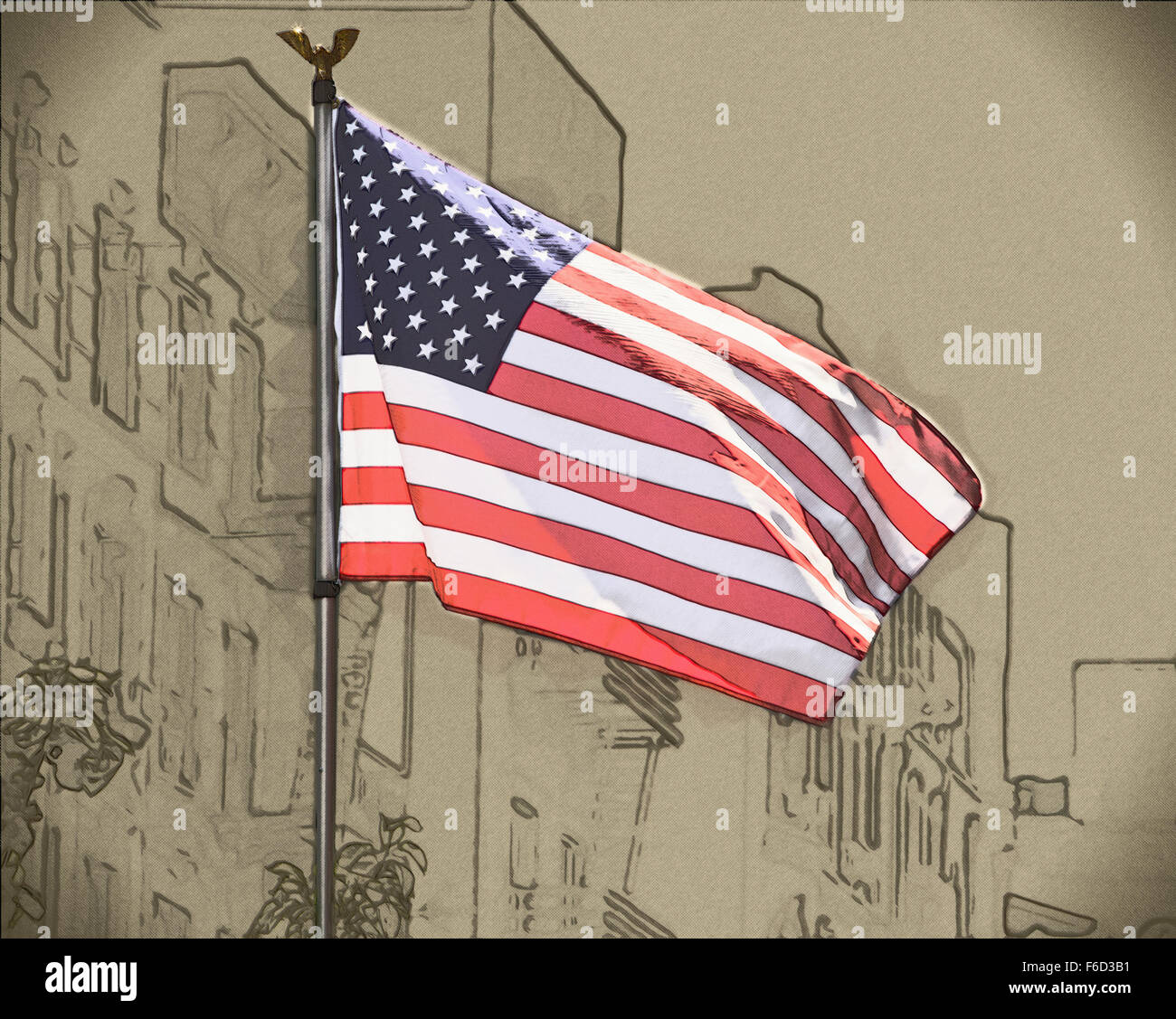 Drawing Of Usa Flag Waving In The Wind Stock Photo 90027813 Alamy