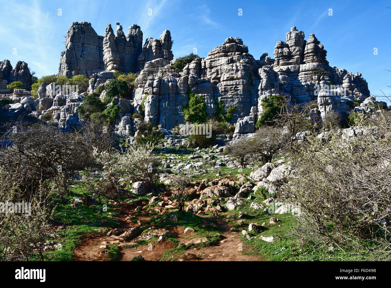 Torcal de Antequera is a nature reserve in the Sierra del Torcal, mountain range located south of the city of Antequera. - Stock Image