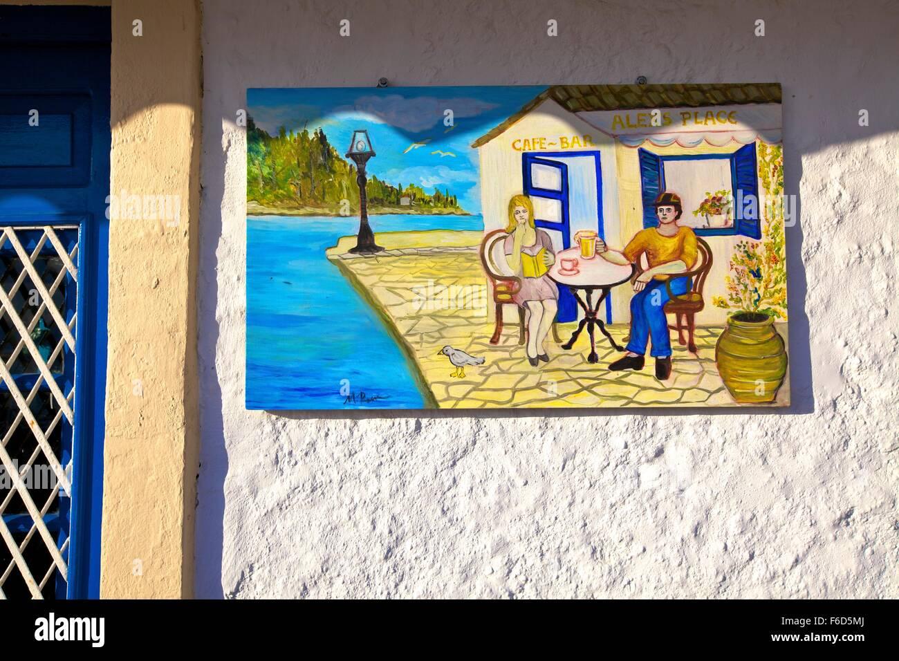 Restaurant Signage, Gaios, Paxos, The Ionian Islands, Greek Islands, Greece, Europe - Stock Image