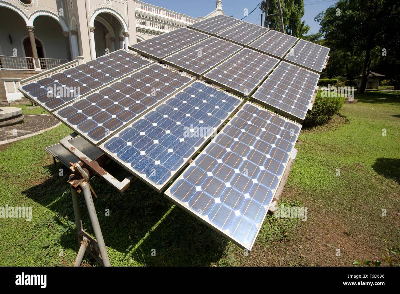 Unconventional power solar energy panels, agakhan palace, pune, maharashtra, india, asia - Stock Image