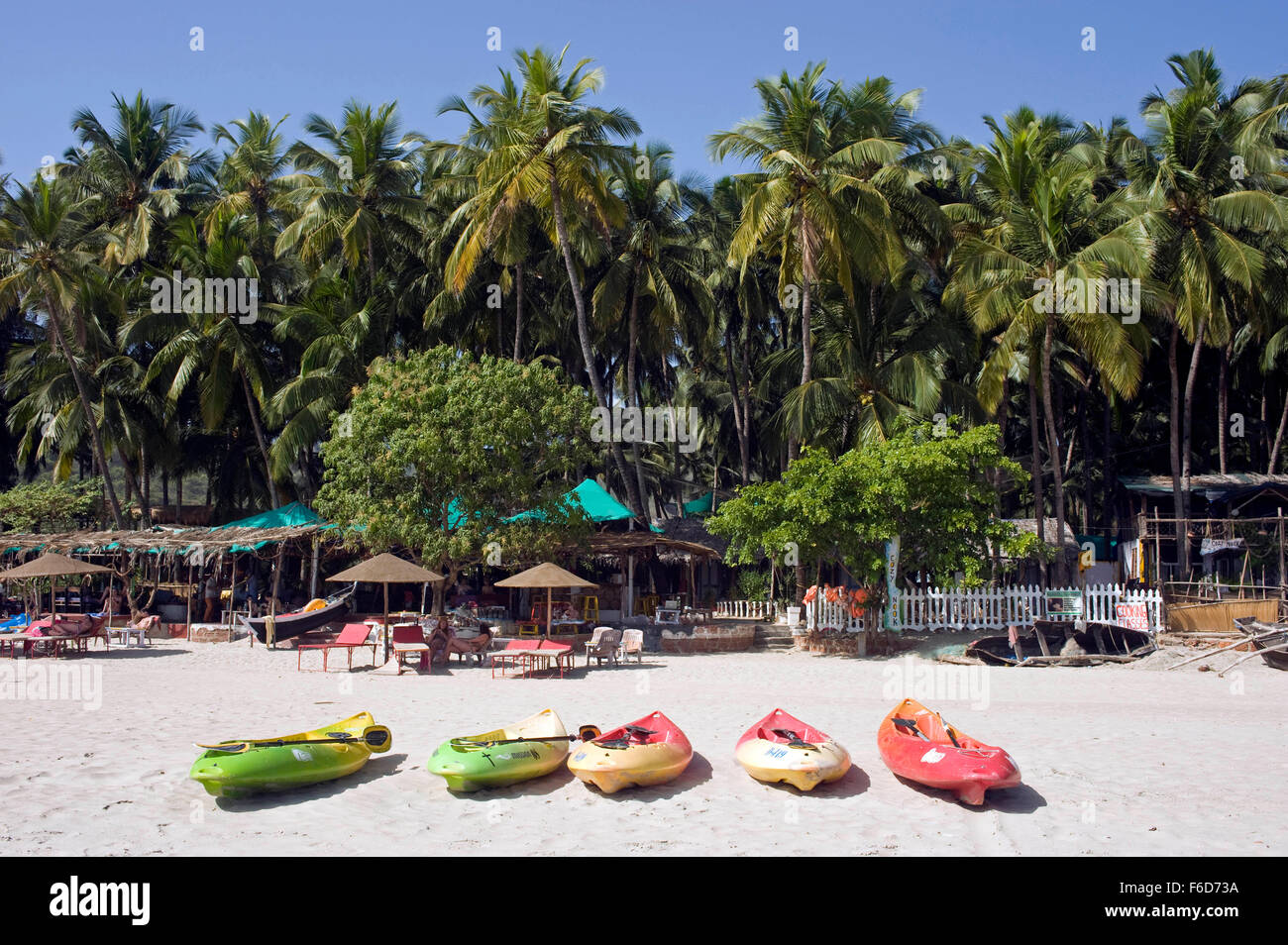 Fishing boats on palolem beach, goa, india, asia - Stock Image