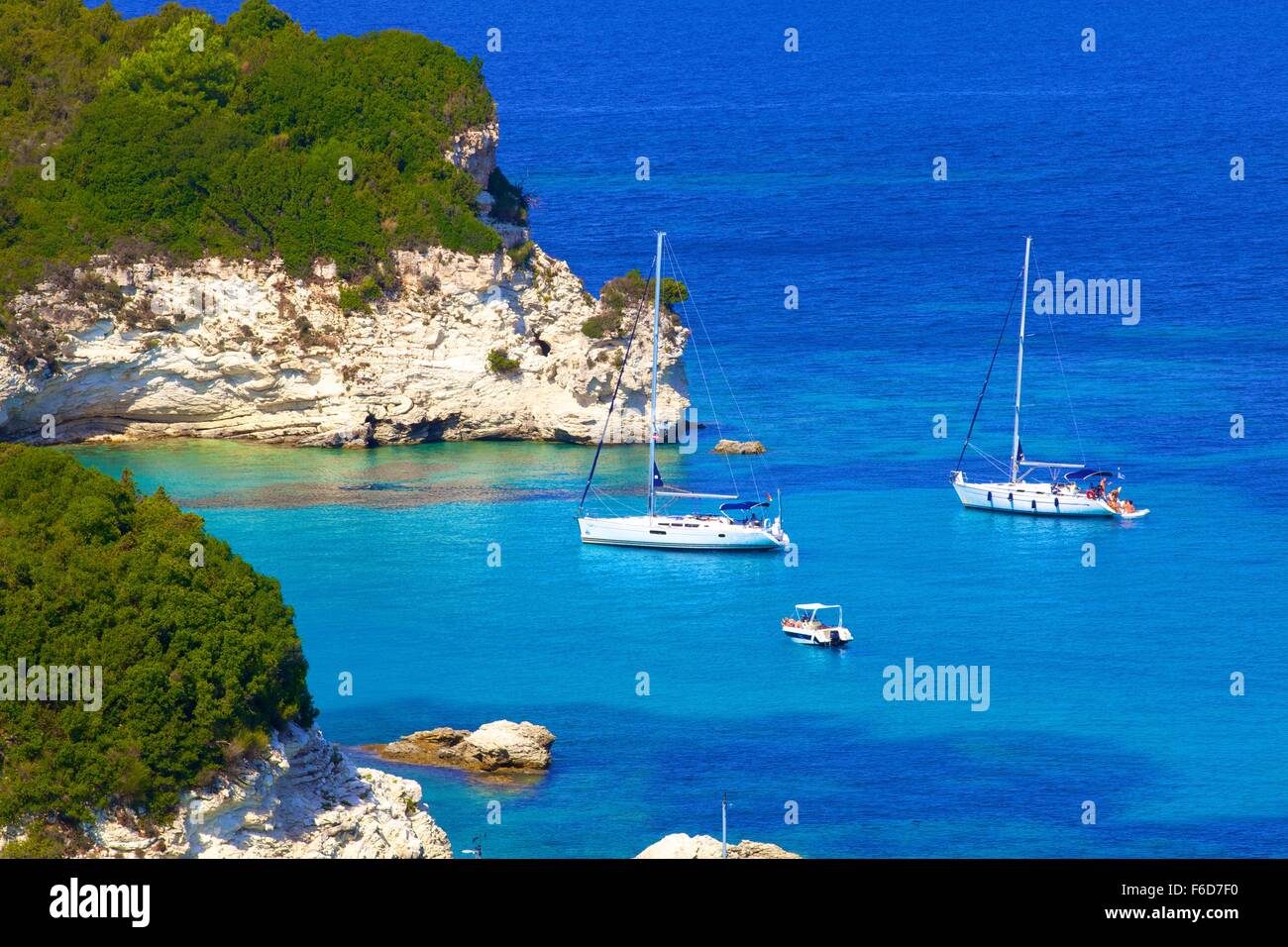 Elevated View of Voutoumi Bay, Antipaxos, The Ionian Islands, Greek Islands, Greece, Europe - Stock Image