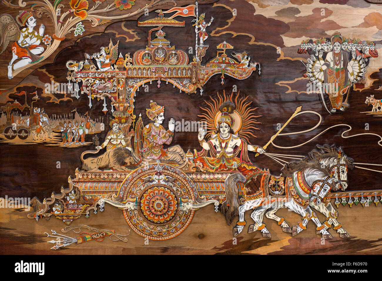 Painting of lord krishna chariot, india, asia - nmk 190786 - Stock Image