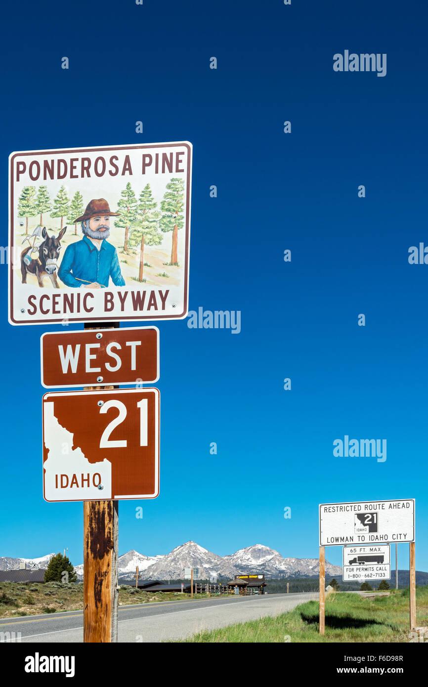 Idaho, Stanley, Ponderosa Pine Scenic Byway sign, Highway 21