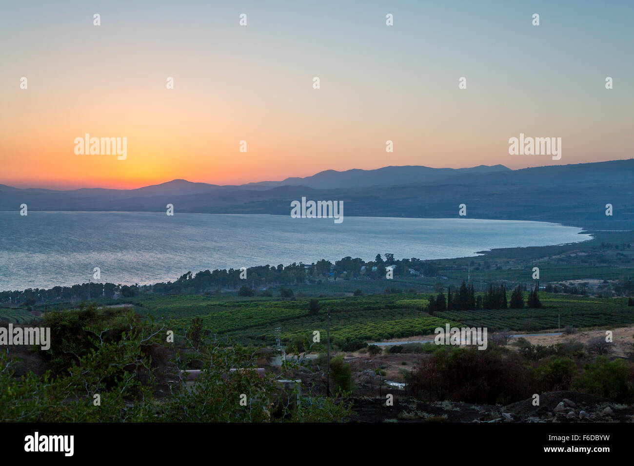 Sunset over the Sea of Galilee from Ramot, Golan Heights, Israel, MIddle East. Stock Photo