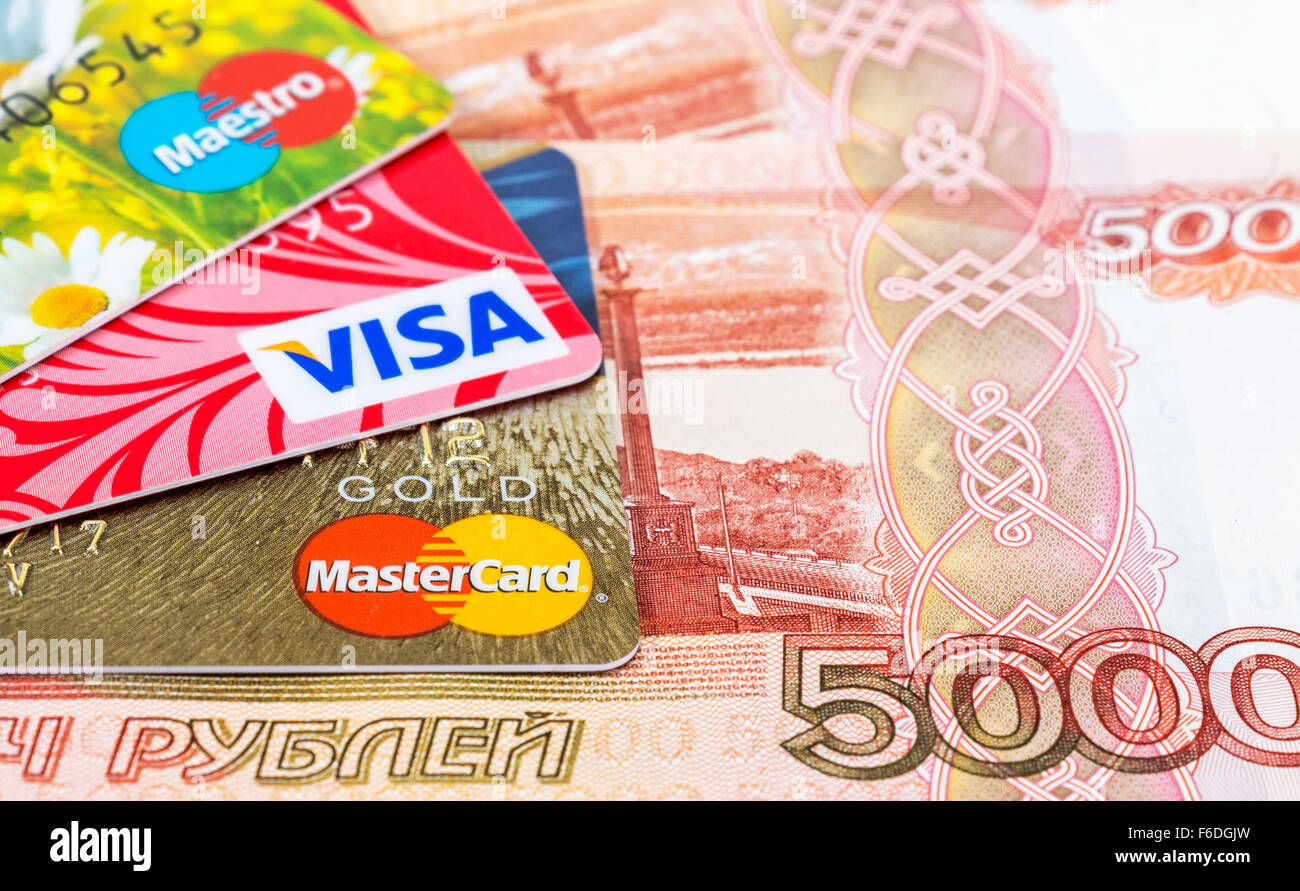 VISA and Mastercard Debit Card with russian rubles Stock Photo