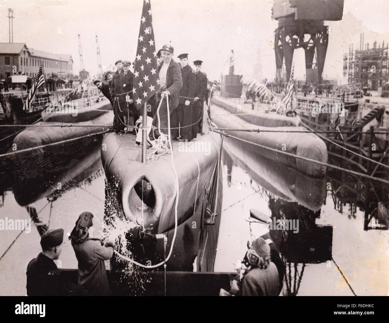 704. Launch of US Submarine ceremony. Stock Photo