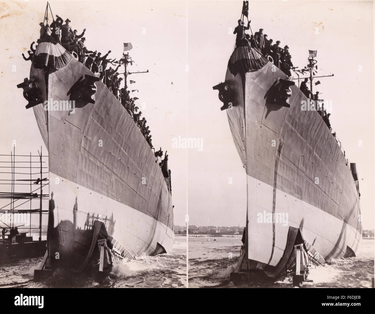 705. Launch of a US Liberty ship 1943. Stock Photo