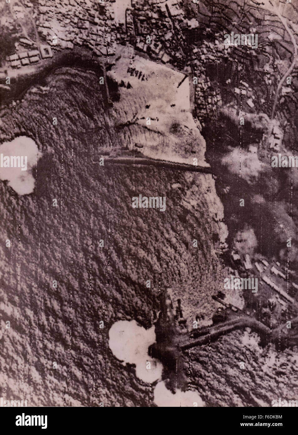 709. Italy.islands of Pantellaria pounded by the allied airforce.Bombs can be seen bursting on the harbour facilities. Stock Photo