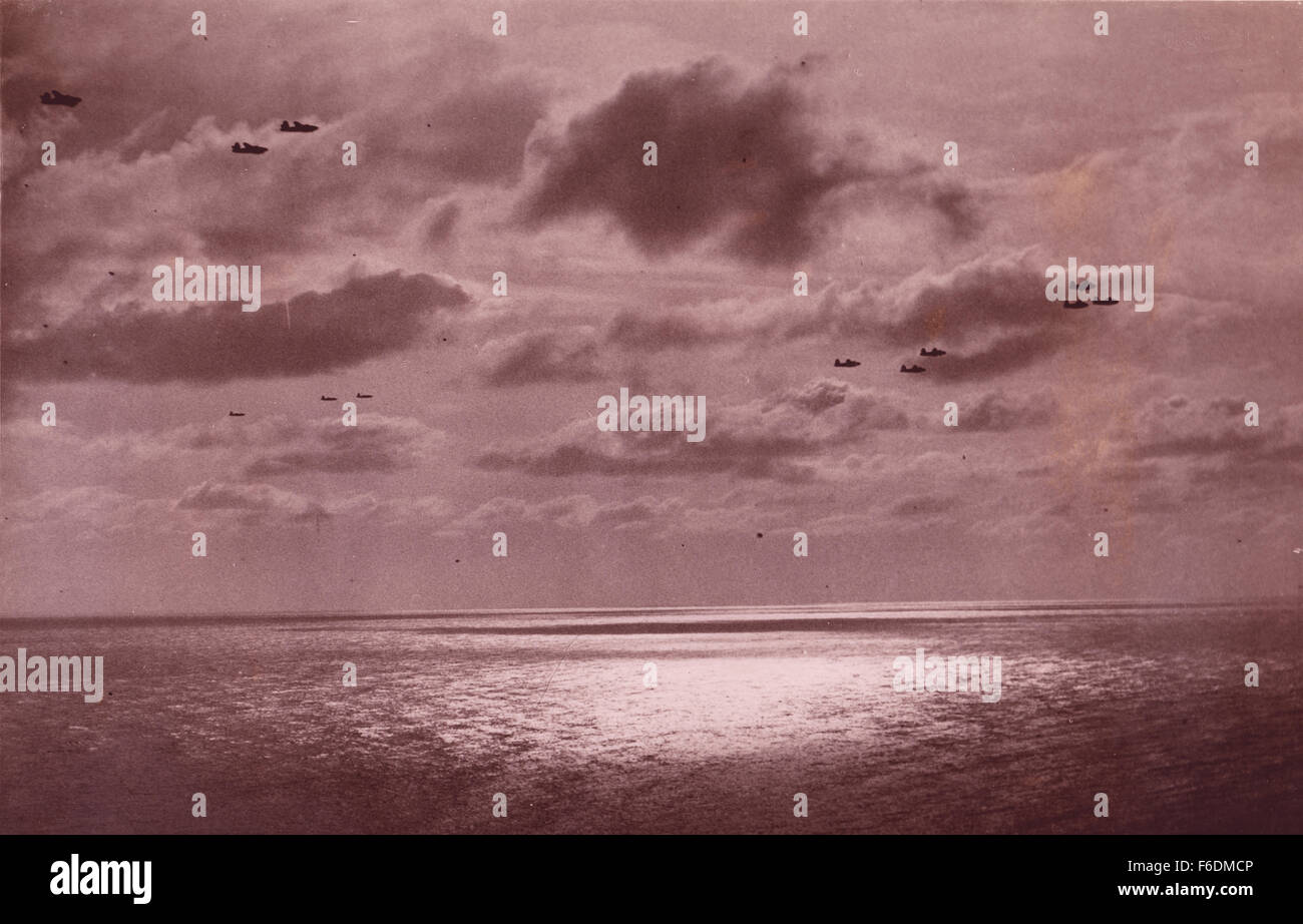 713. RAF bombers returning home to base after a mission 1943. Stock Photo