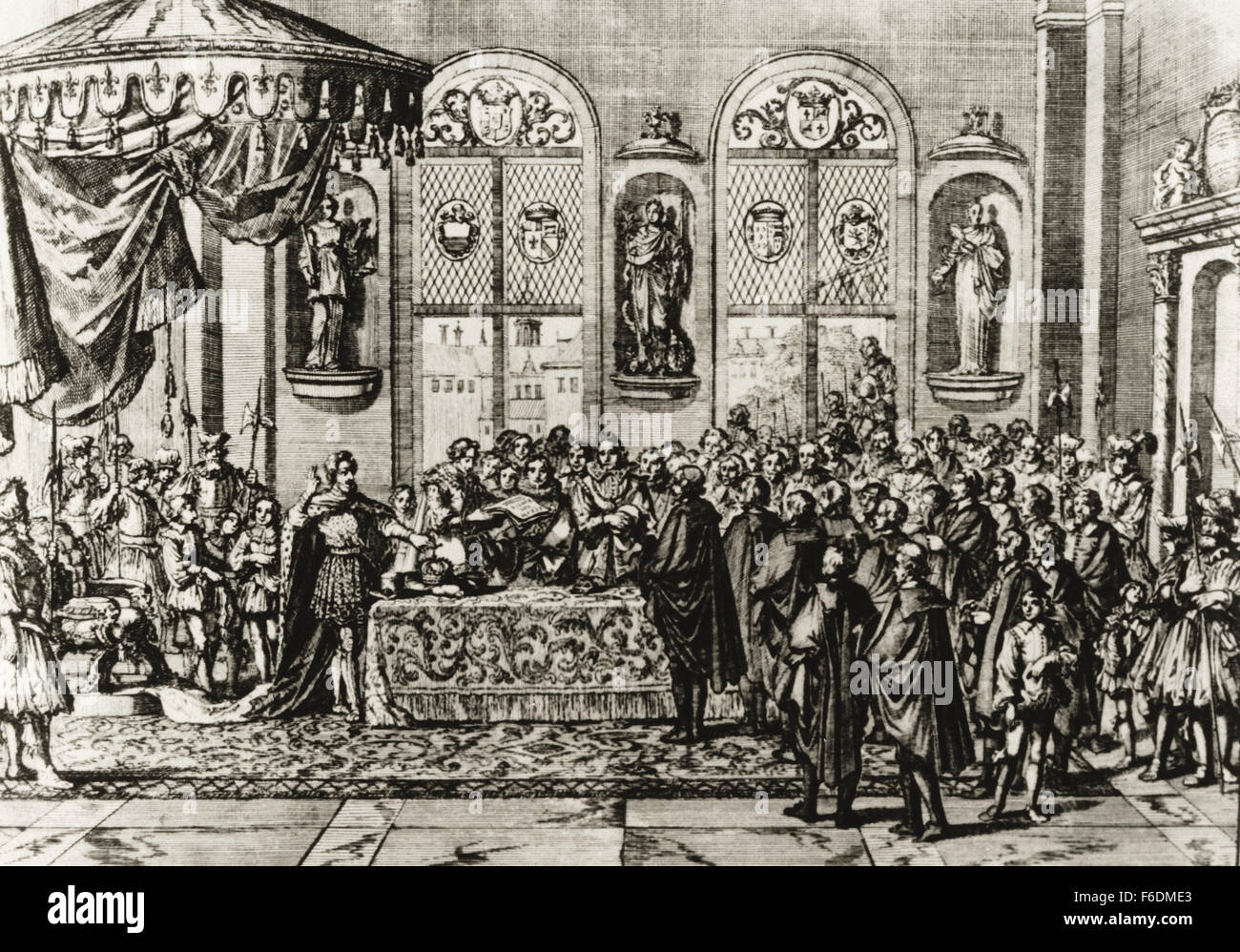 France. Paris. Edict of Nantes by King Henry IV, 30 April 1598. Ratification. Engraving. - Stock Image