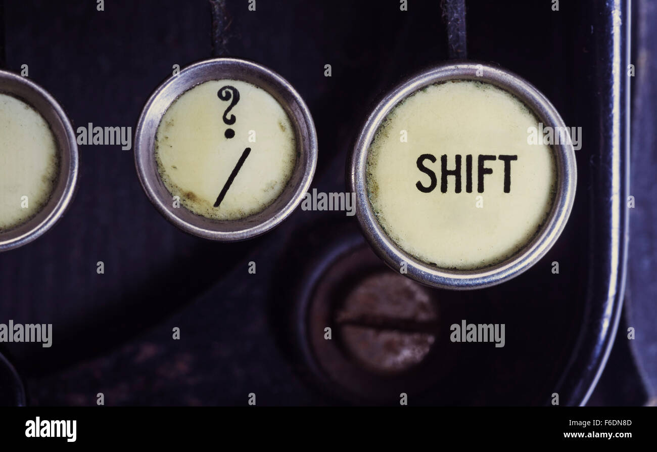 Shift, ? and / keys on old typewriter keyboard - Stock Image