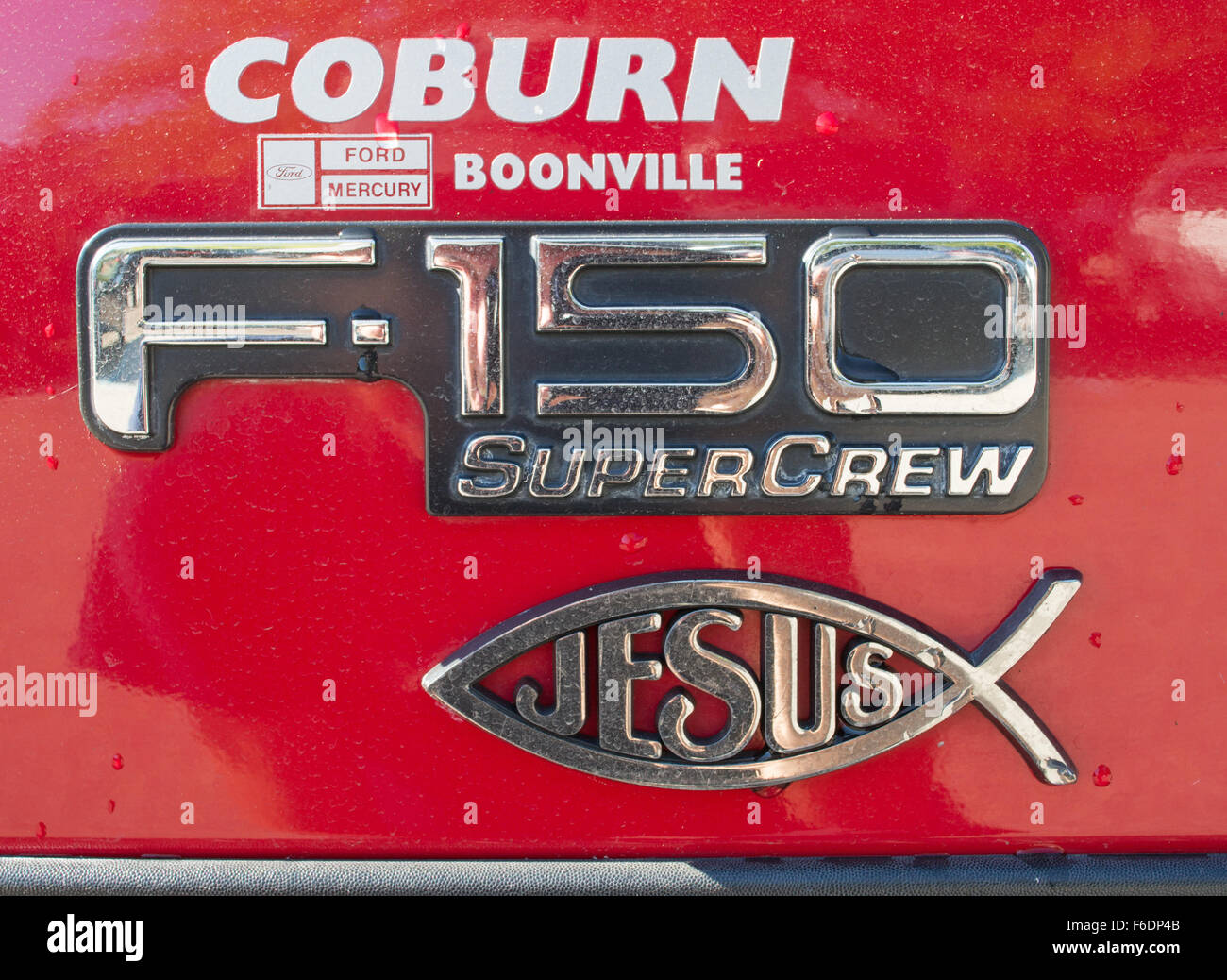 Jesus Sign of the Fish on Ford F-150 Supercrew vehicle, Virginia, USA - Stock Image