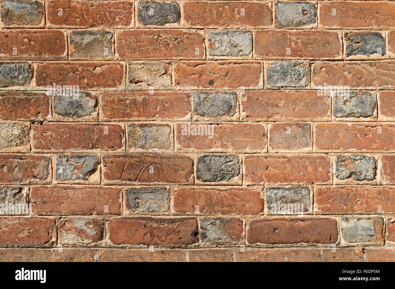 Flemish Bond brickwork seen in a wall at Colonial Williamsburg, Virginia, USA - Stock Image