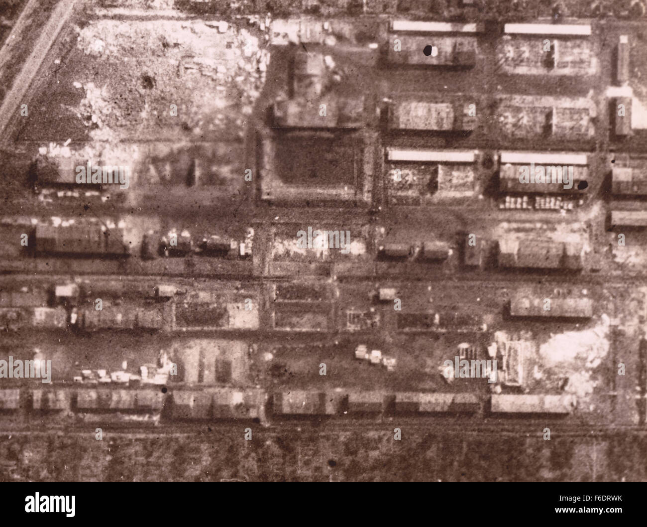 Germany Focke Wulf Works REconnaissance image after RAF bombing Stock Photo
