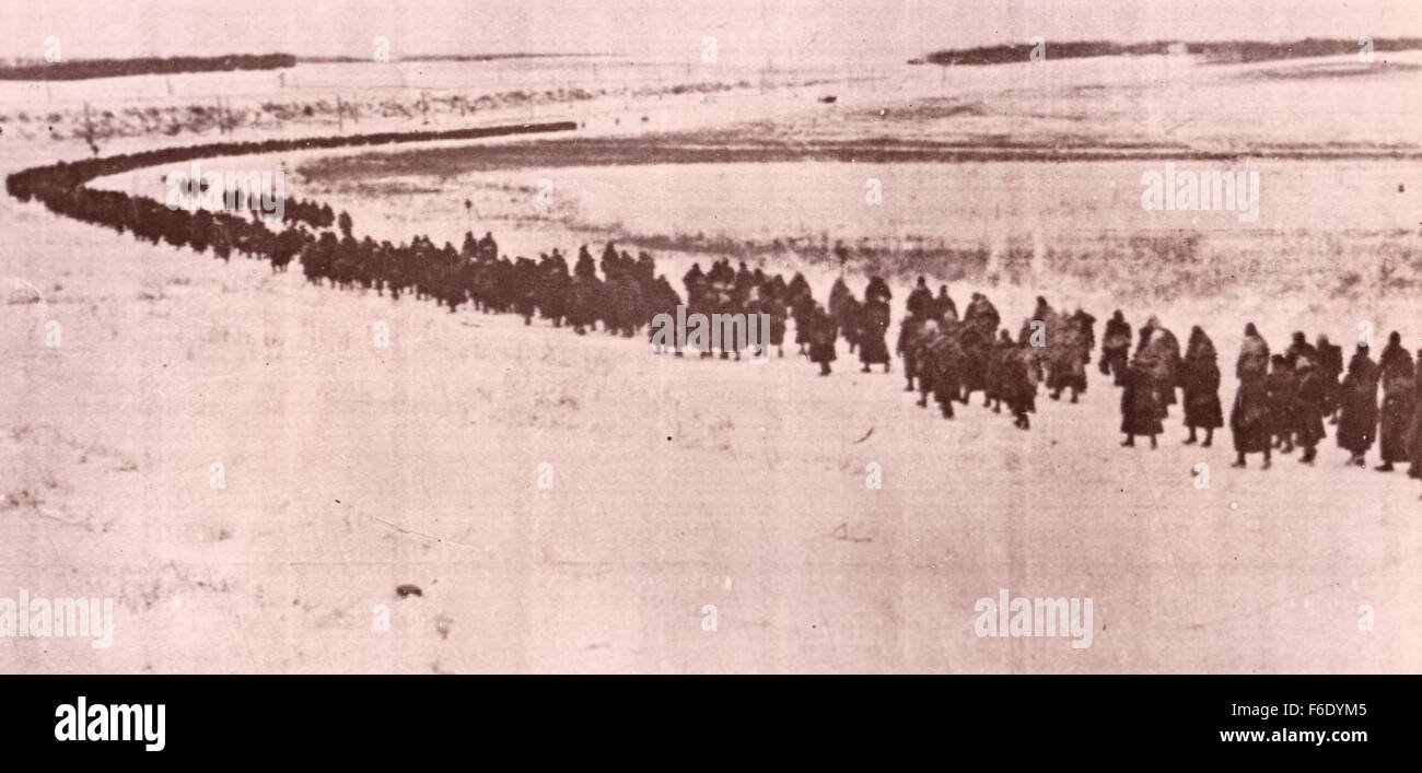 734. Russia. Vorenezh Front. Columns of captured German soldiers are trudged back from the battle after the surrender. - Stock Image