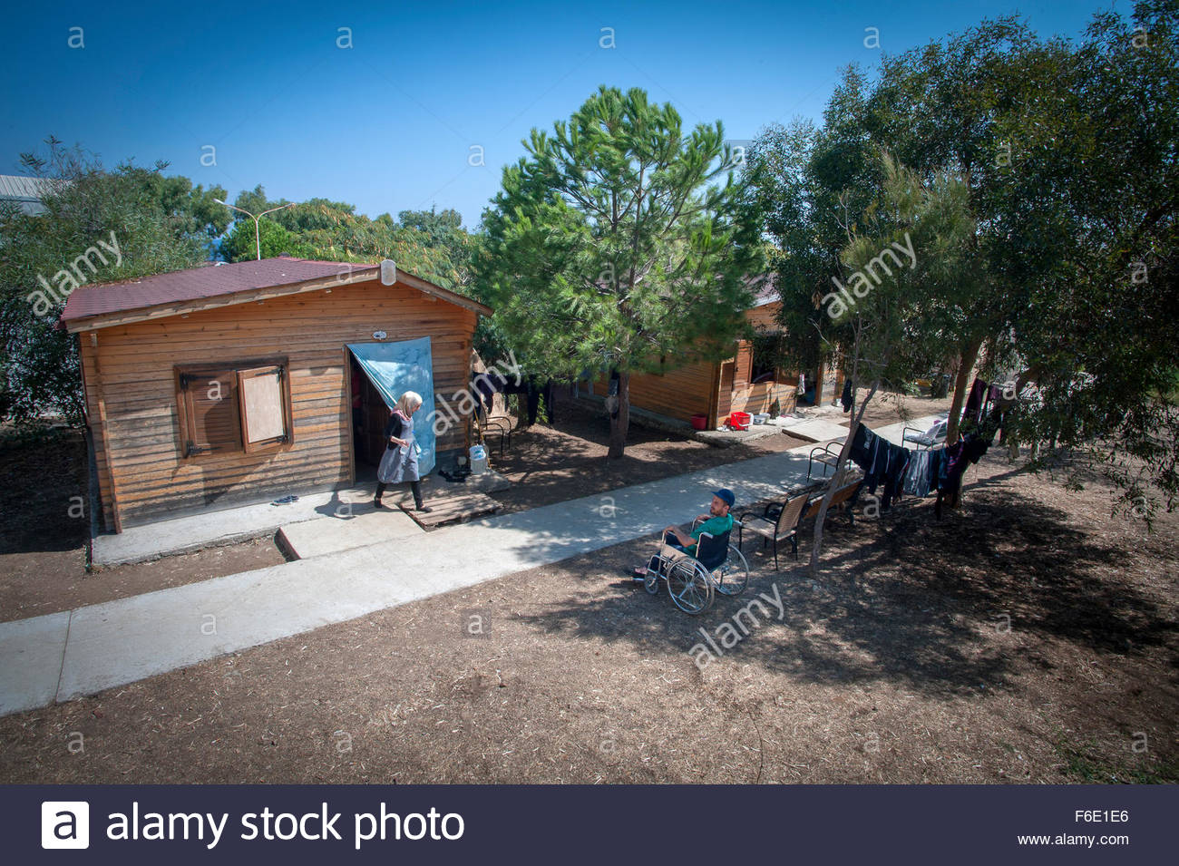 Pikpa refugee camp in Lesbos, greece. The Camp is run by the 'Village of Altogether.' - Stock Image