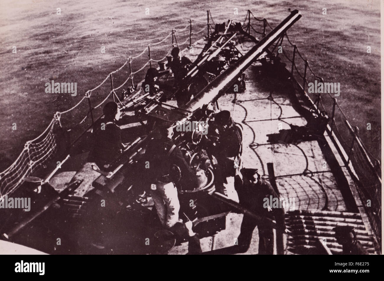 WW2 Armed Merchantman with anti-aircraft Guns at the ready. North Atlantic Stock Photo