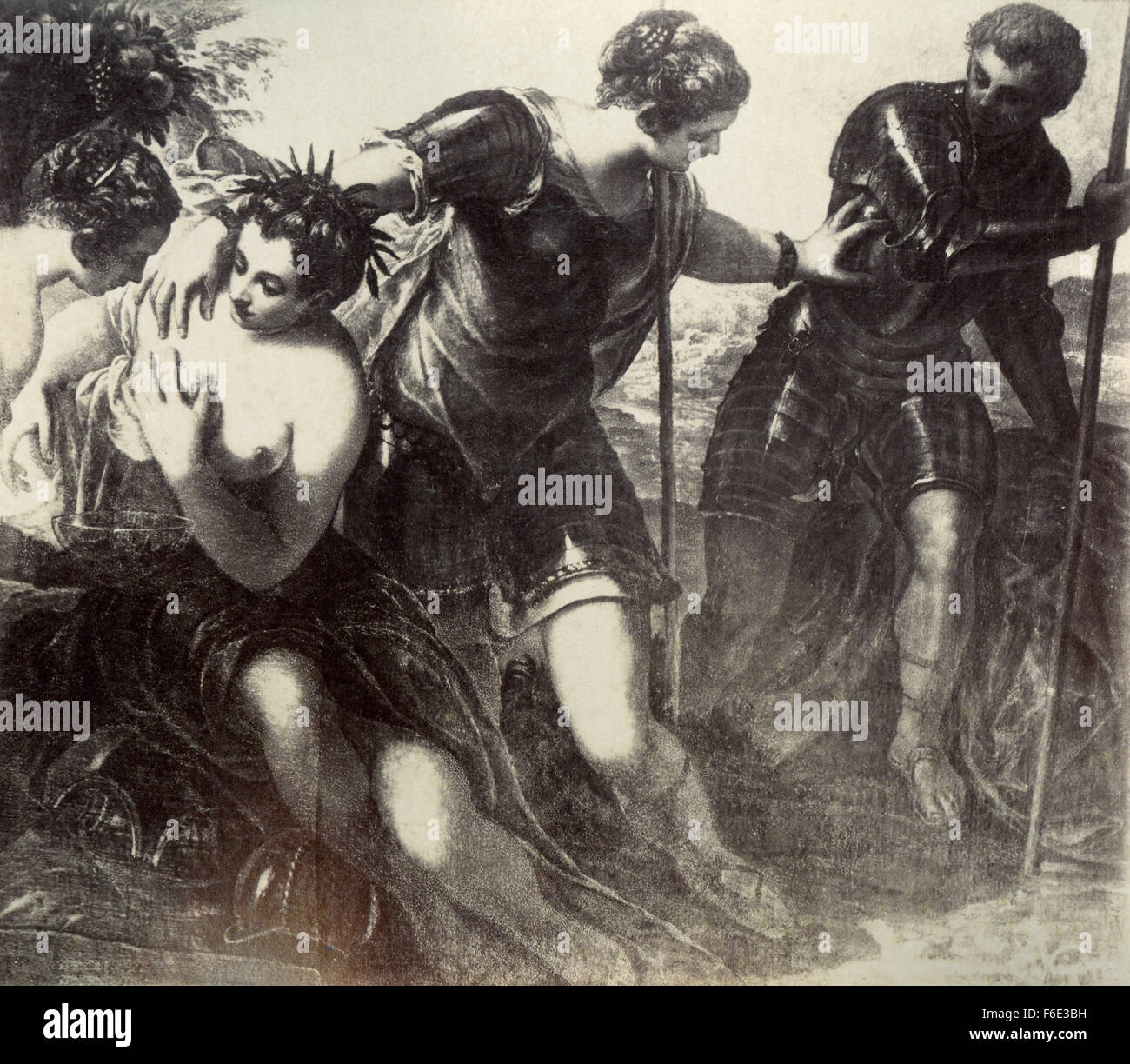 Pallas casts Mars, painting by Jacopo Tintoretto Stock Photo