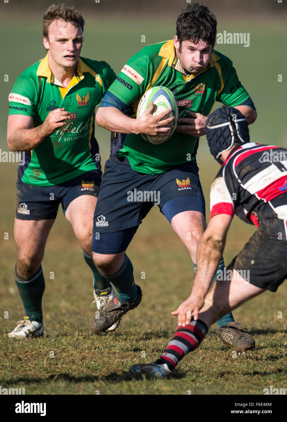 Rugby players in action - Stock Image