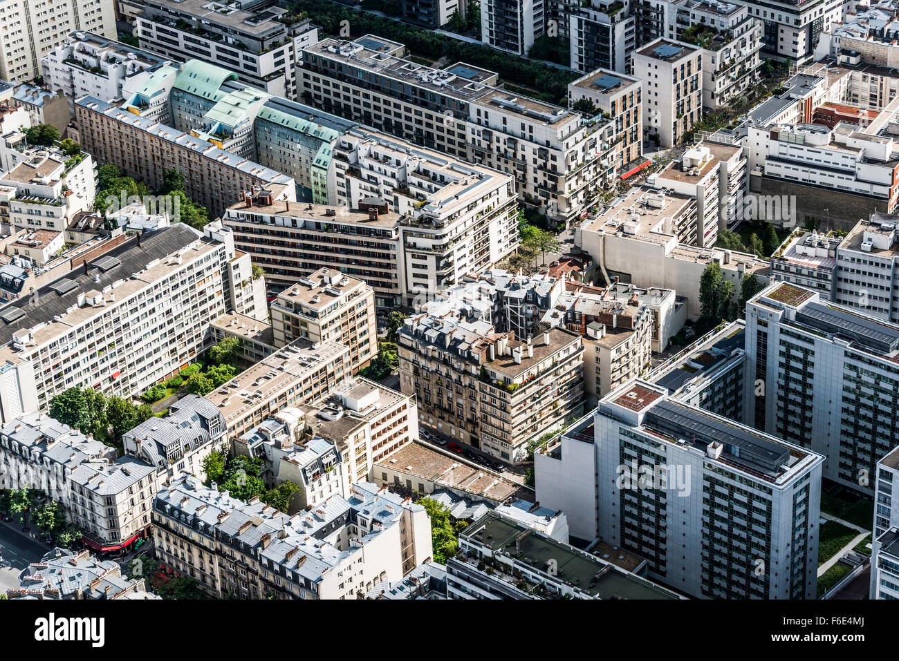 View of houses and streets from Eiffel Tower, La Défense, Paris, Ile-de-France, France - Stock Image