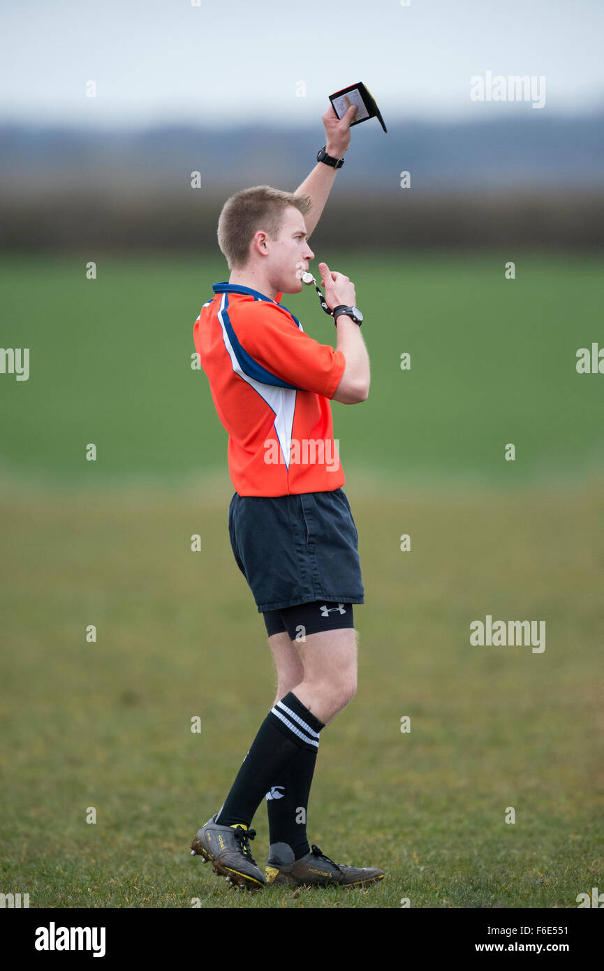 Rugby - Match Referee blowing - Stock Image