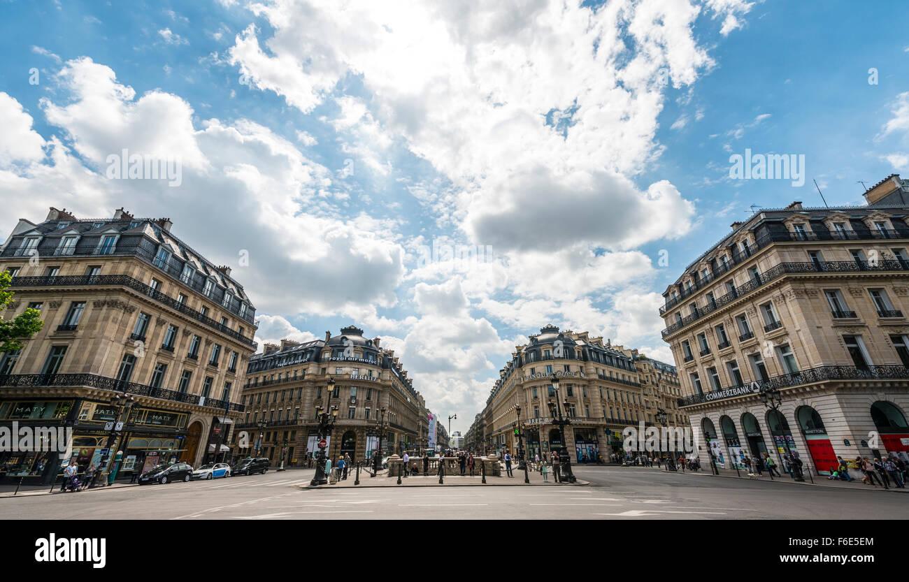 Avenue de l'Opéra, Paris streets, Ile-de-France, France - Stock Image