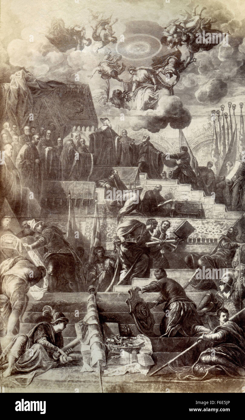 Venice among the gods, painted by Jacopo Tintoretto - Stock Image