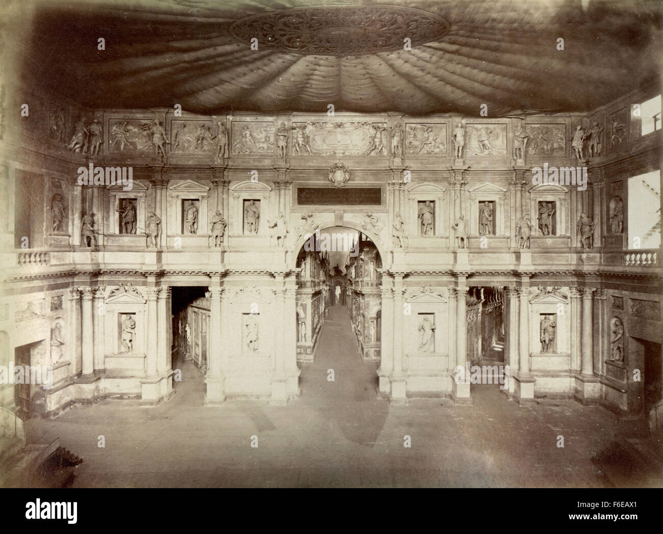 Interior façade of the Olympic theater, Vicenza, Italy - Stock Image