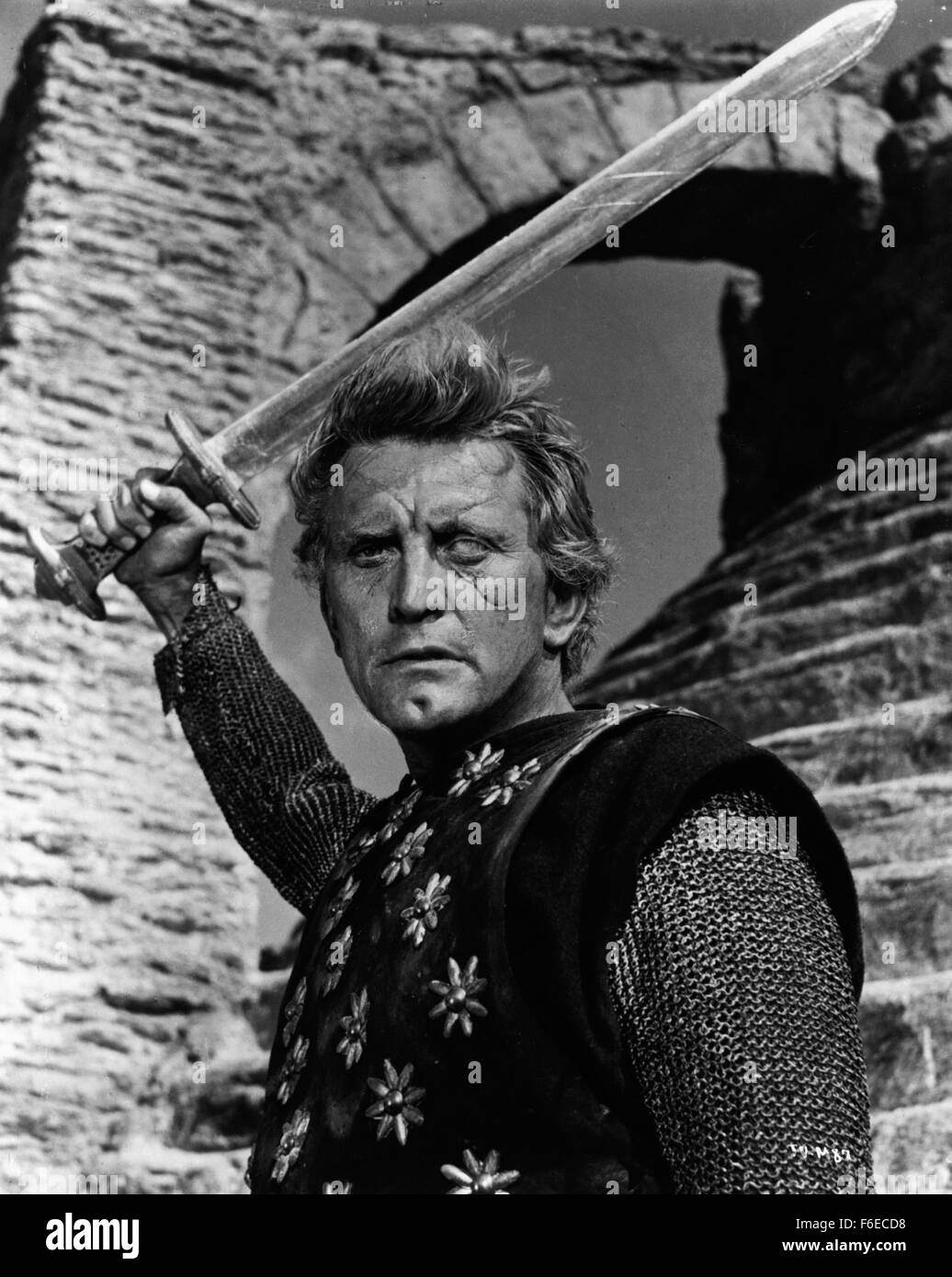 RELEASE DATE: June 28, 1958. MOVIE TITLE: The Vikings. STUDIO: Curtleigh Productions. PLOT: Einar and Eric are two - Stock Image