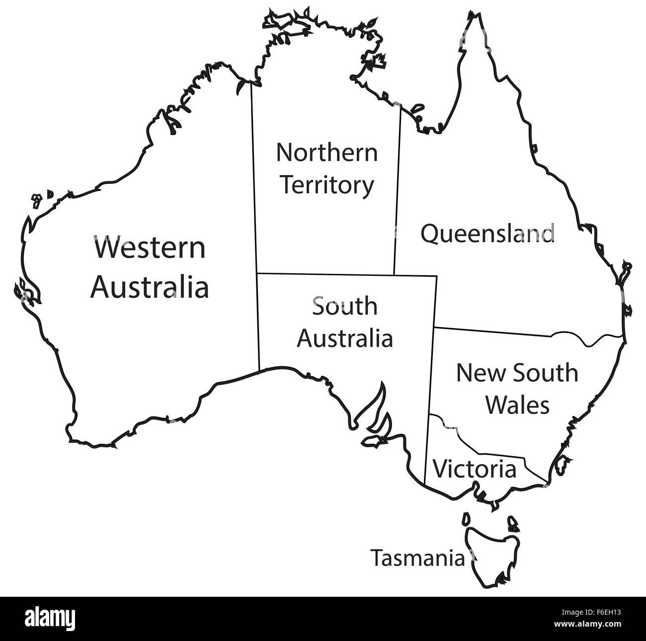 Australia Map Territories.An Australian Map Outlining The Territories Isolated On A White