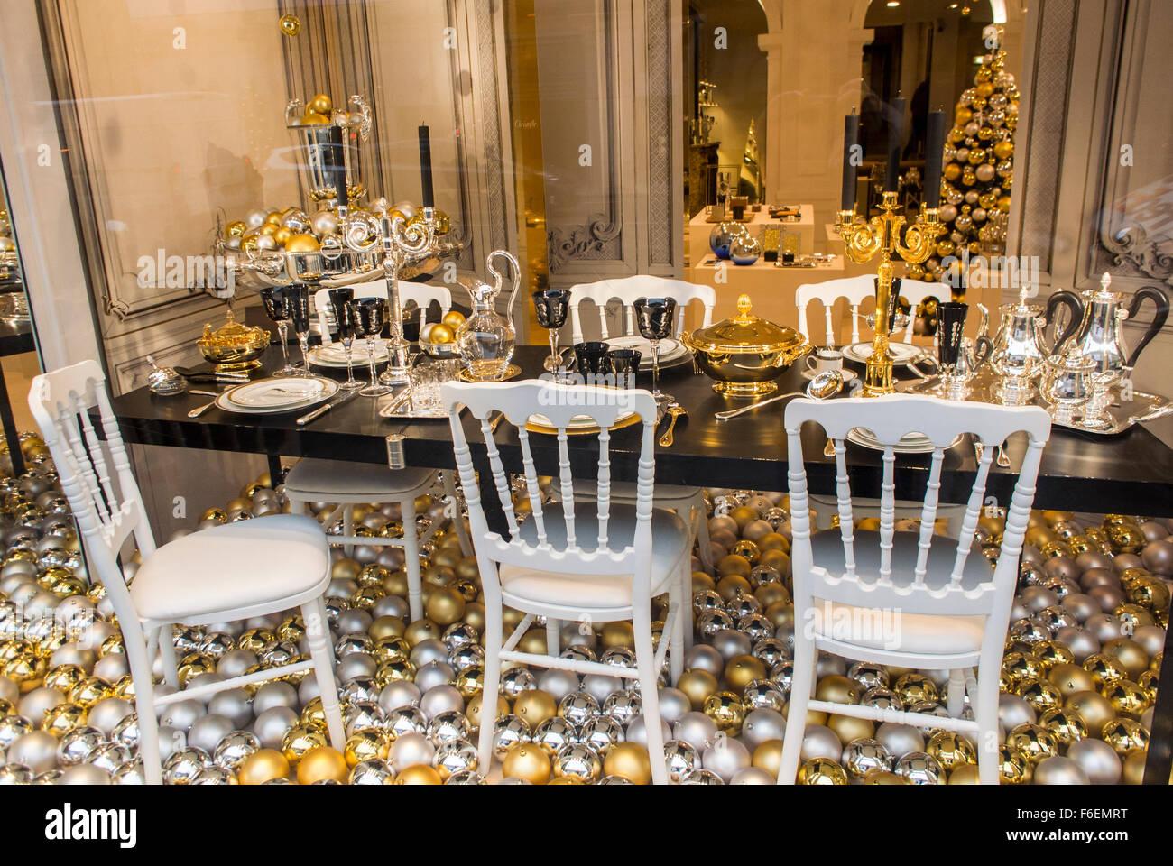 Paris, France, inside Luxury Housewares Store, Chrisofle, Christmas ...