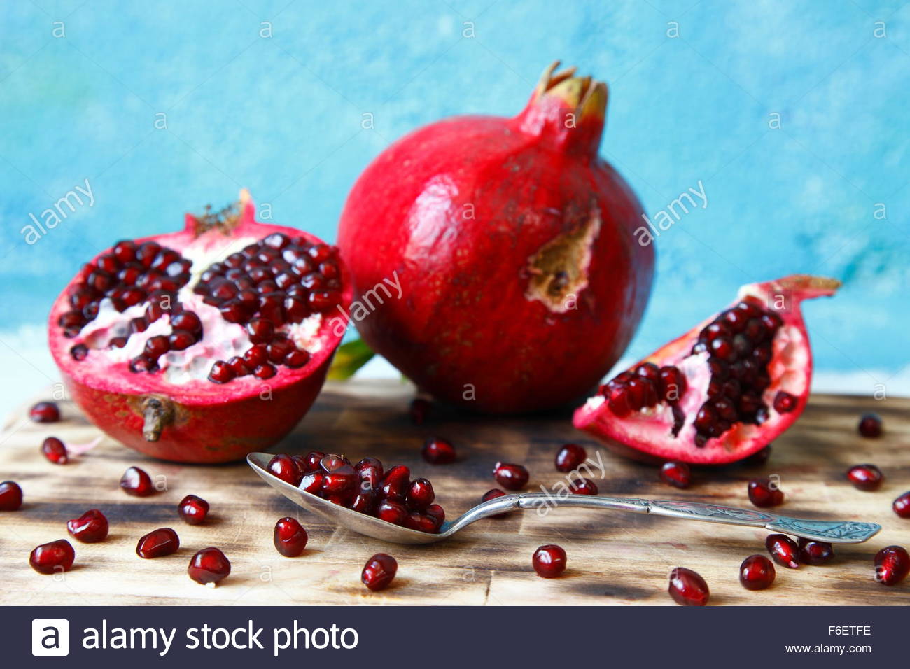 pomegranate macro photographed in daylight, visual, color image - Stock Image