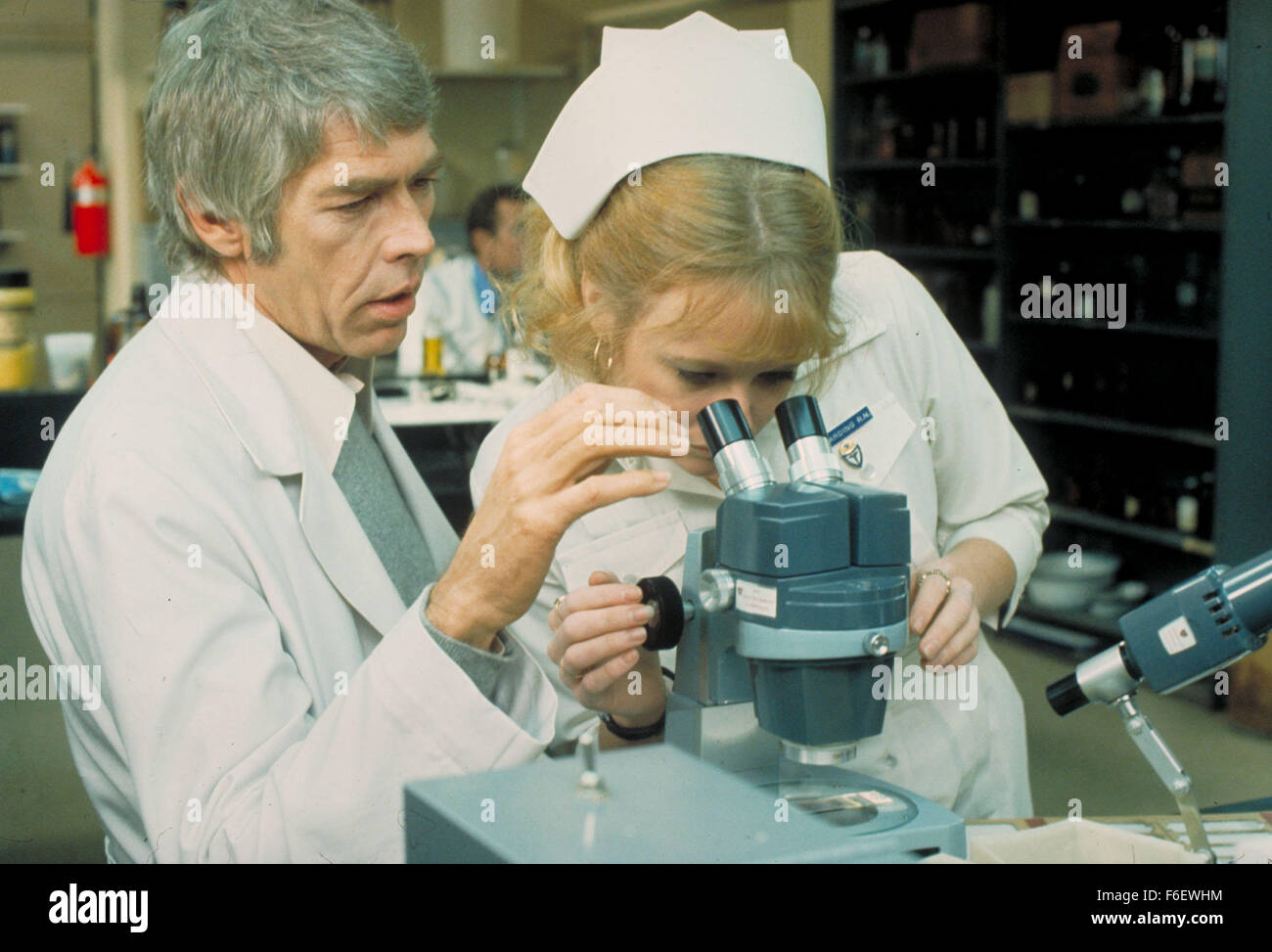 Mar 29, 1972; Boston , MA, USA; Actors JAMES COBURN stars as Dr. Peter Carey and SKY AUBREY as Nurse Angela Holder - Stock Image