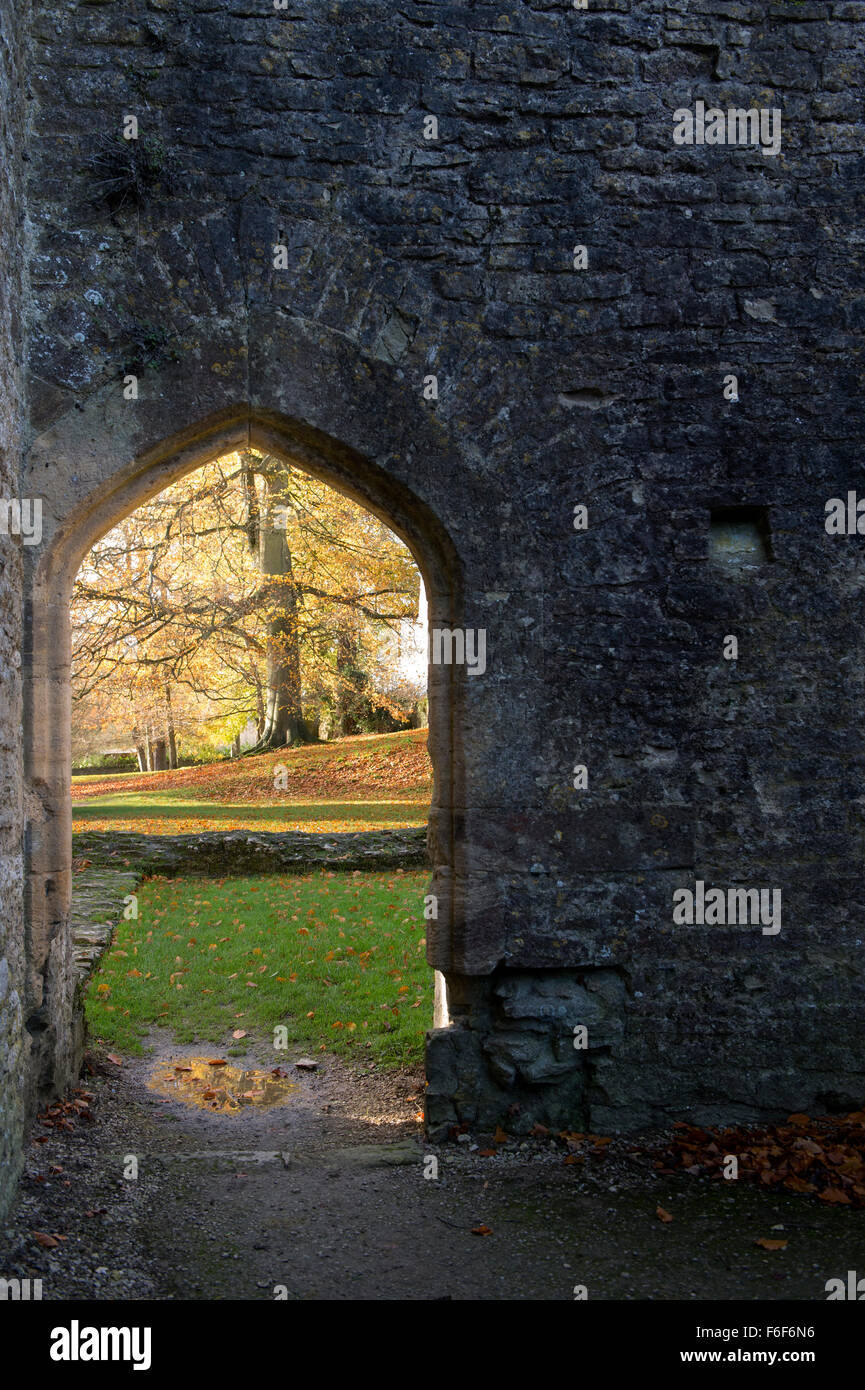 Minster Lovell Hall ruins doorway in autumn. Oxfordshire, England. - Stock Image