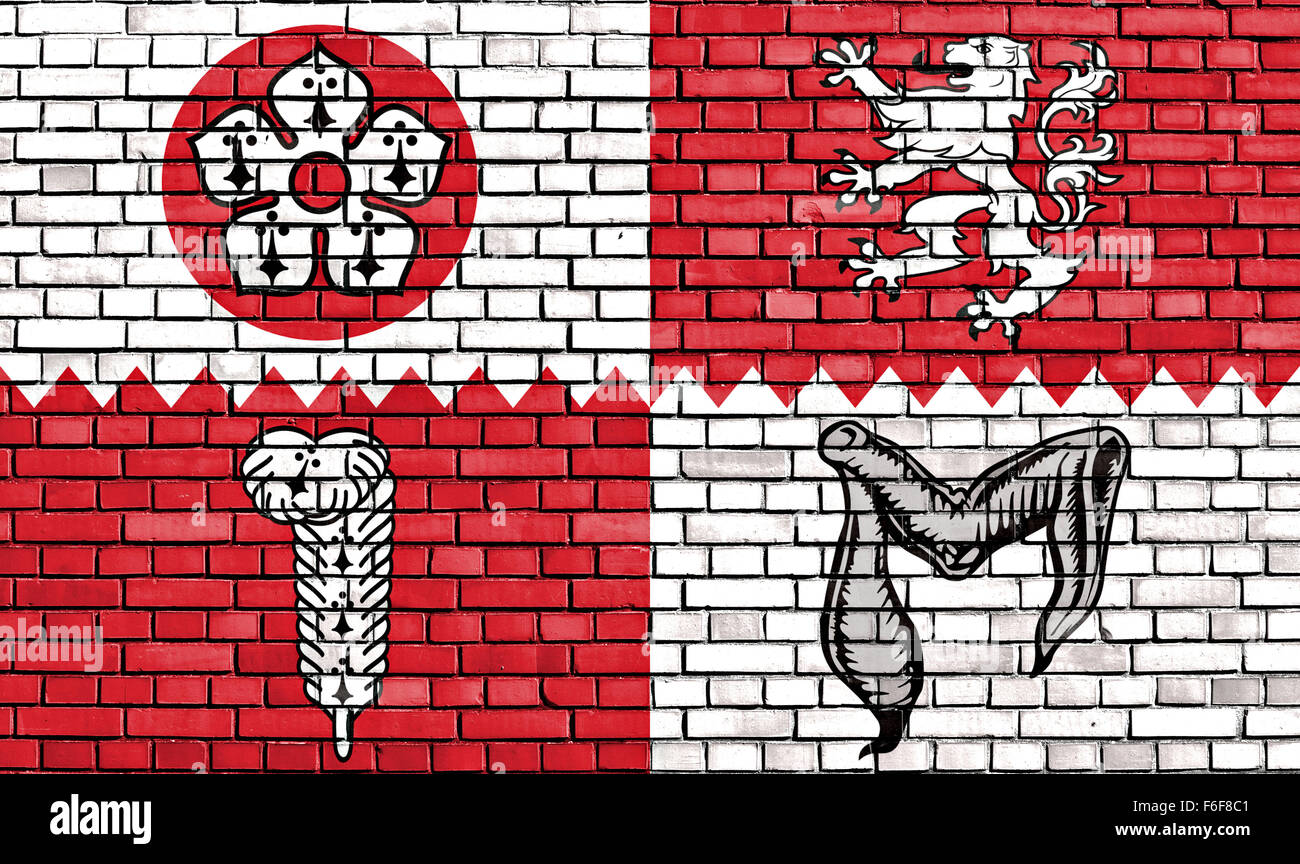 flag of Leicestershire county painted on brick wall - Stock Image
