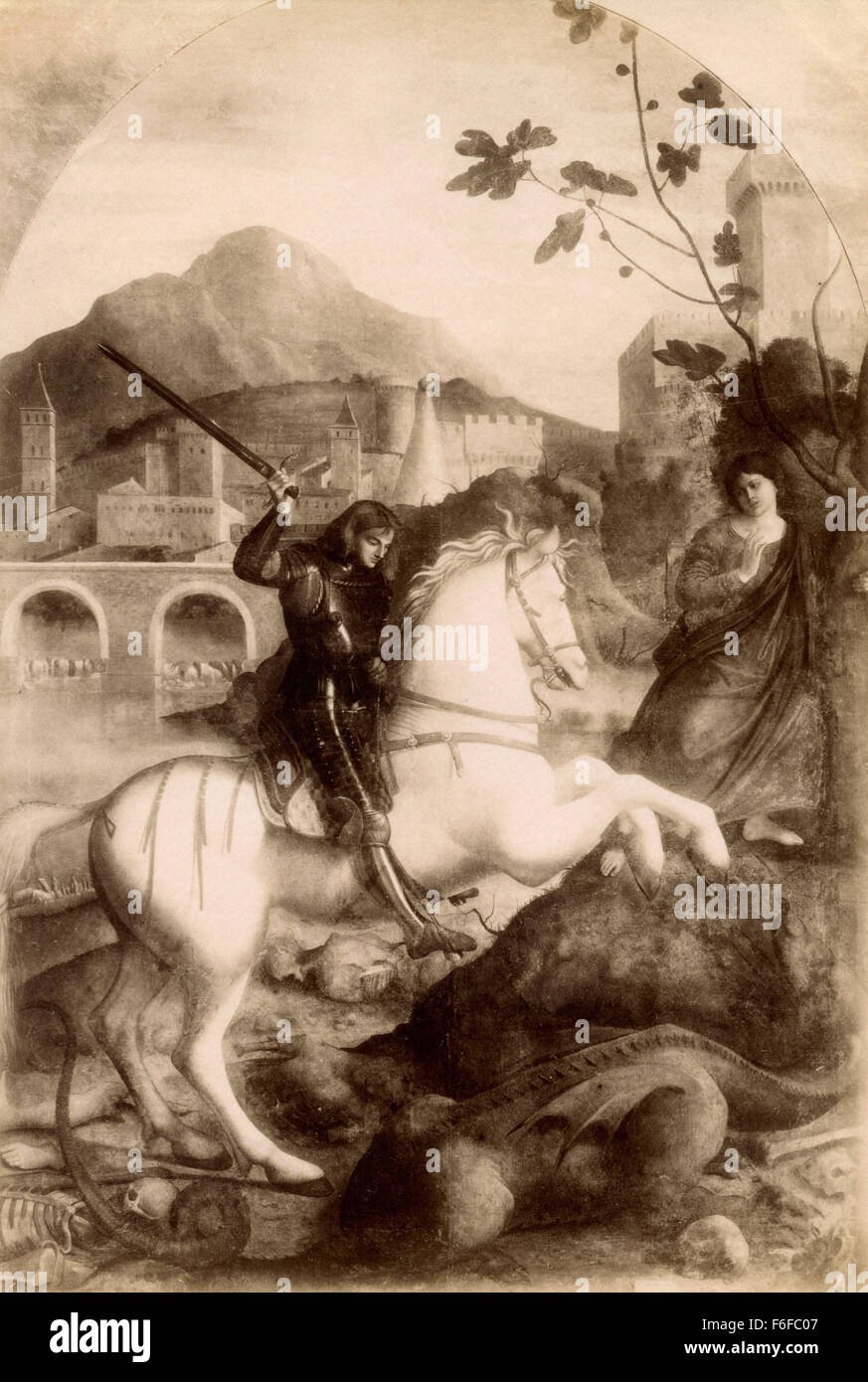St. George slaying the dragon, painting by Basaiti - Stock Image