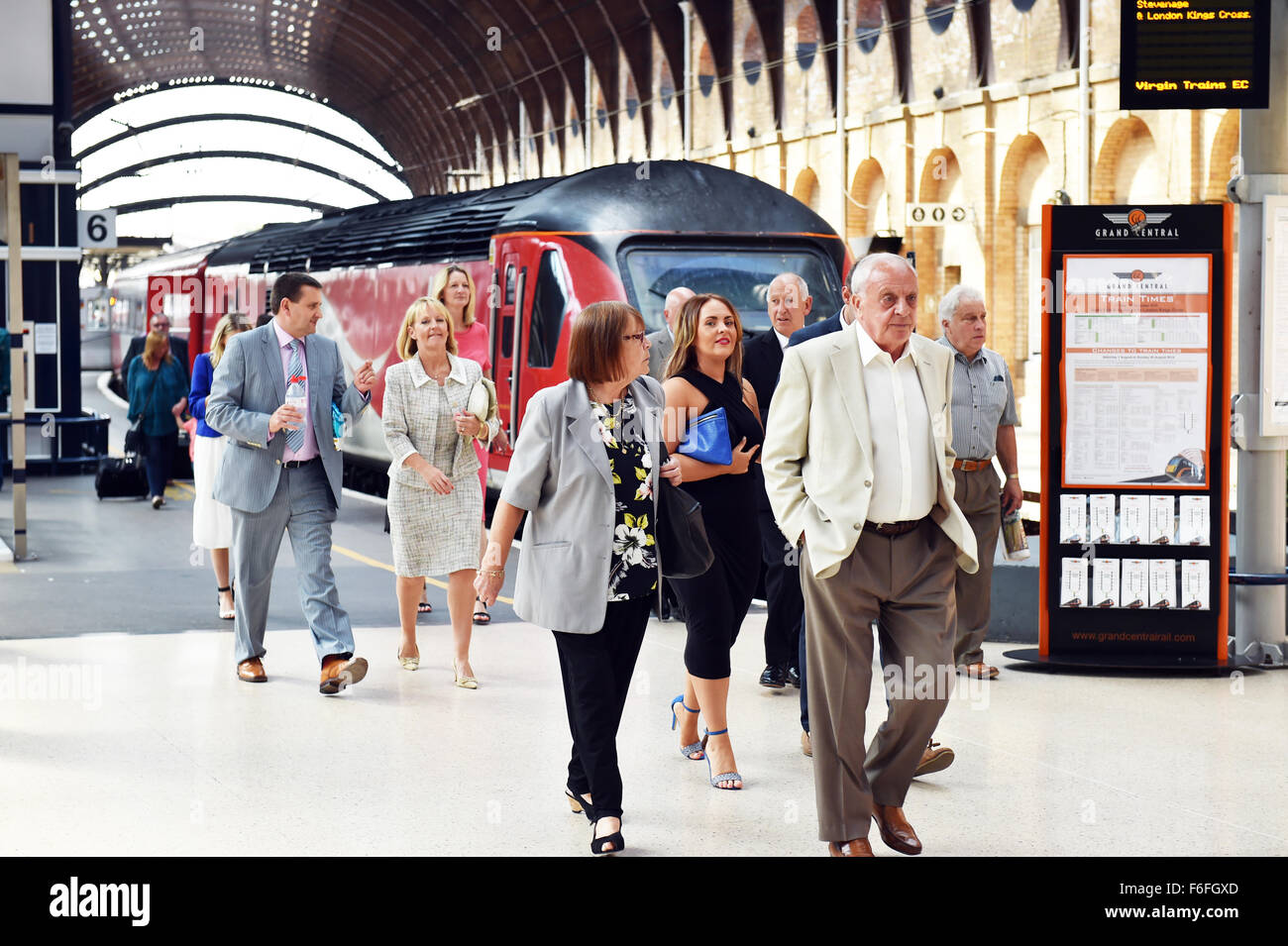 Passengers arrive at York Railway Station - Stock Image