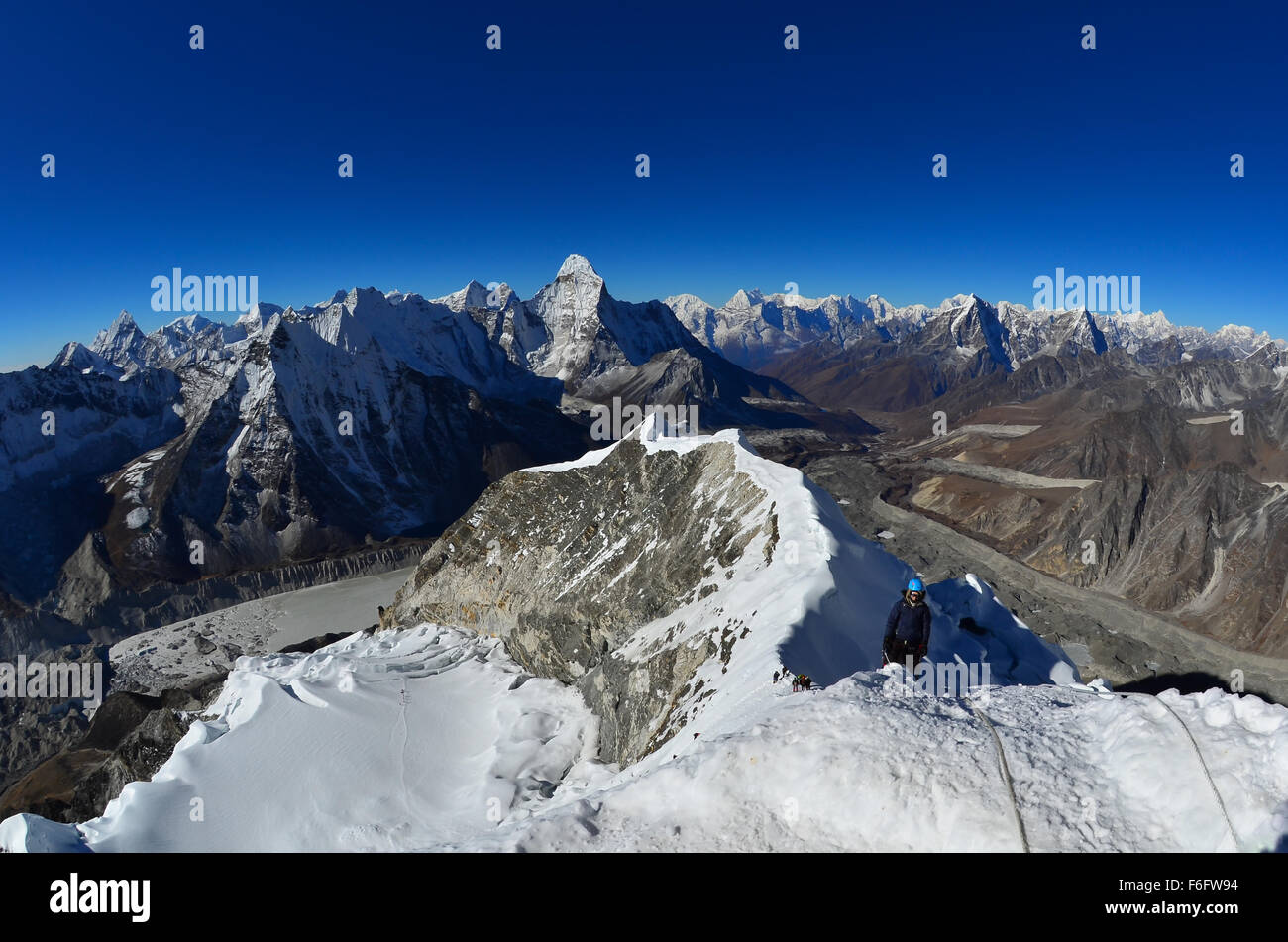 View from the summit of Island Peak (Imja Tse) in Nepal's Khumbu region. - Stock Image