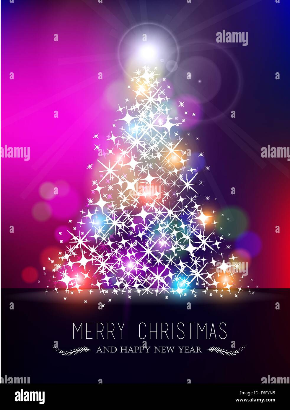 Merry Christmas happy new year bokeh style greeting card design ...