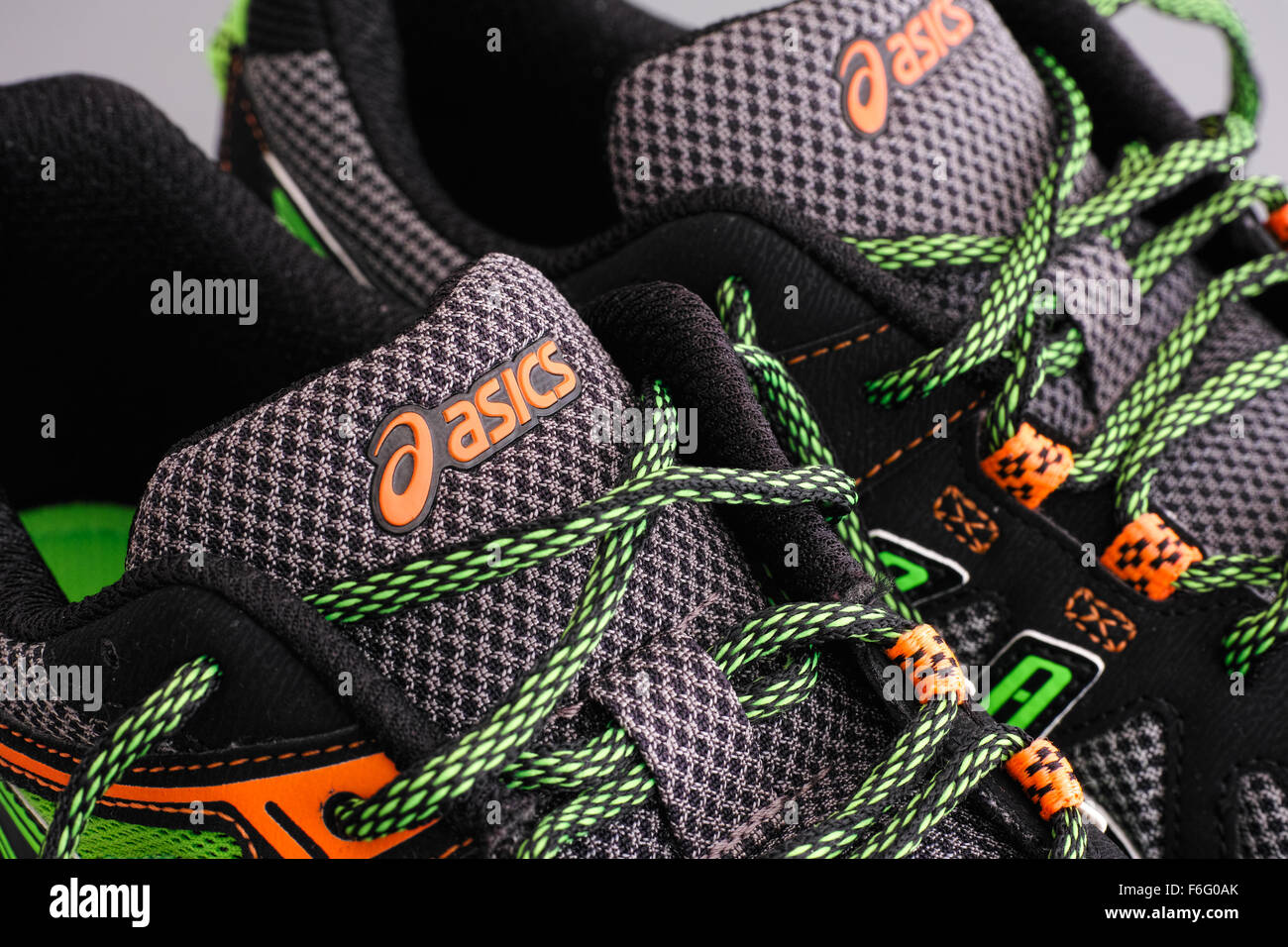 Tambov, Russian Federation - September 17, 2015 Asics snickers. Close-up. Studio shot. - Stock Image