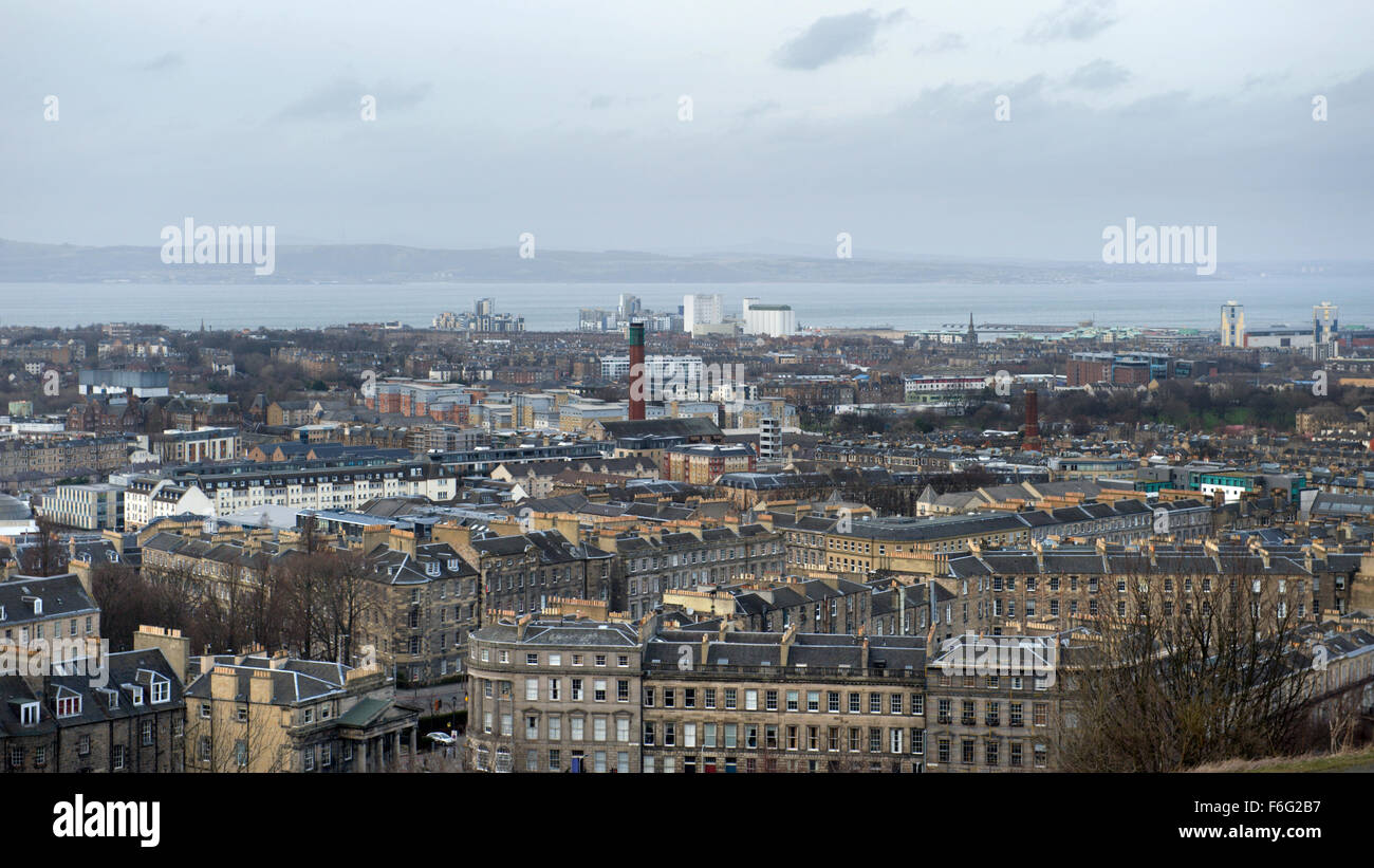 Looking North from Calton Hill across Edinburgh towards Leith and the Firth of Forth Stock Photo