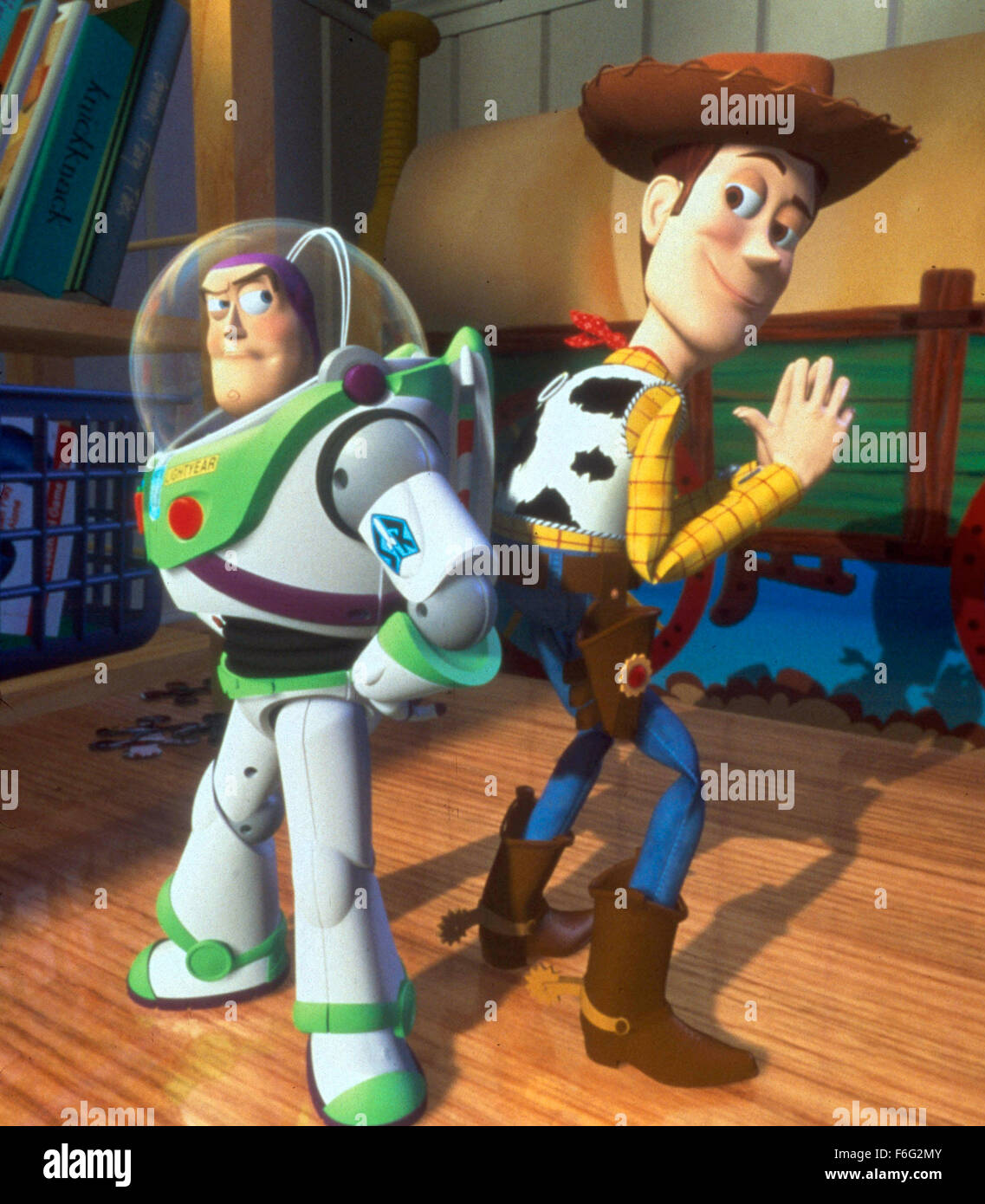 Nov 22, 1995; Hollywood, CA, USA; TIM ALLEN (left) as the voice of Buzz Lightyear and TOM HANKS as the voice of - Stock Image