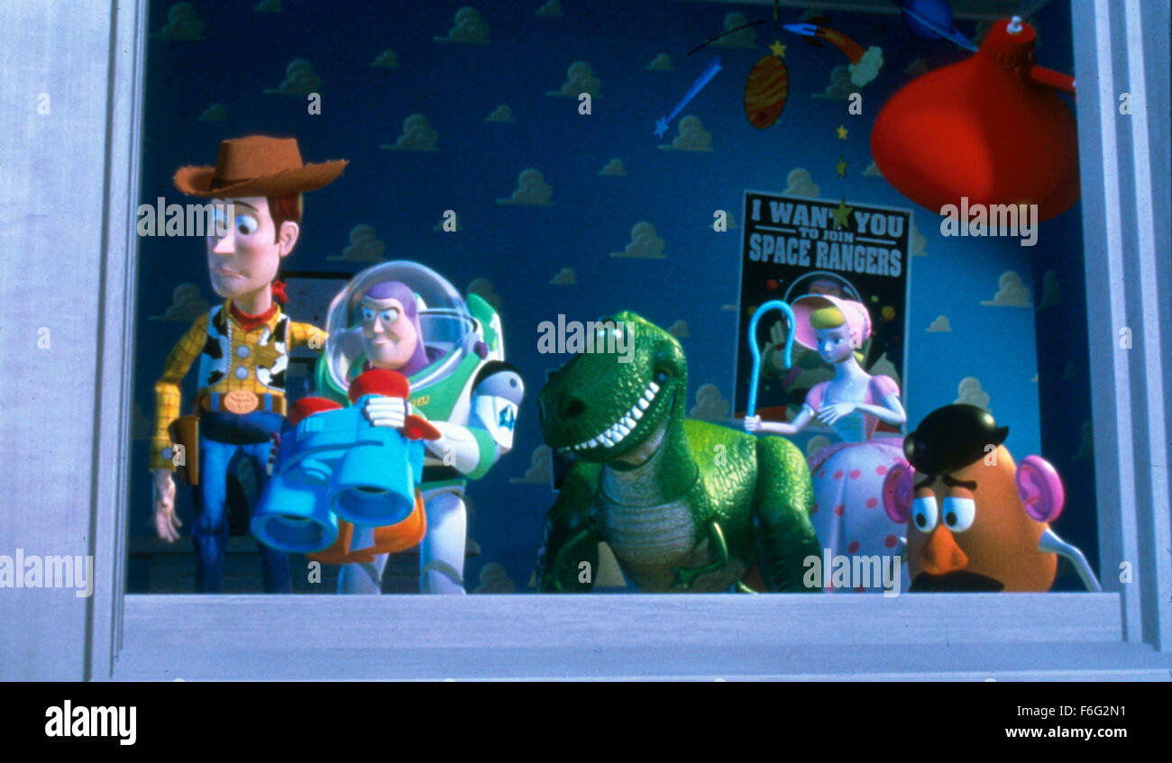 Nov 22, 1995; Hollywood, CA, USA; (left to right) TOM HANKS as the voice of Woody, TIM ALLEN as the voice of Buzz - Stock Image