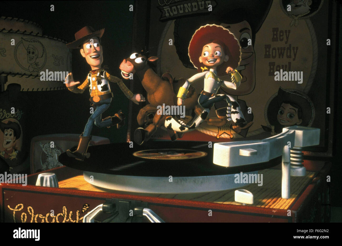 Nov 22, 1995; Hollywood, CA, USA; TOM HANKS as the voice of Woody and JOAN CUSACK as the voice of Jessie in the - Stock Image