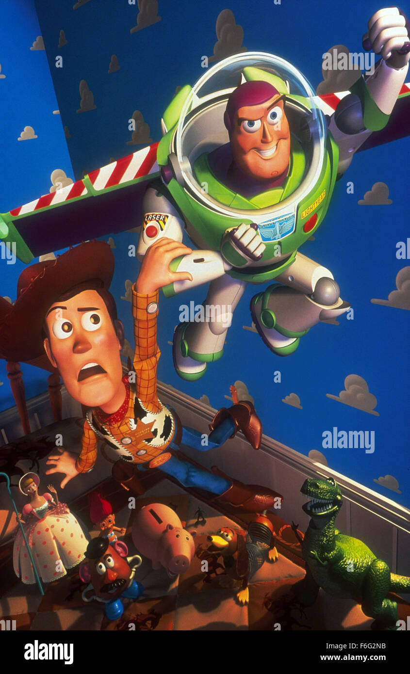 Nov 22, 1995; Los Angeles, CA, USA; TOM HANKS and TIM ALLEN as the voices of Woody and Buzz Lightyear in the animated - Stock Image