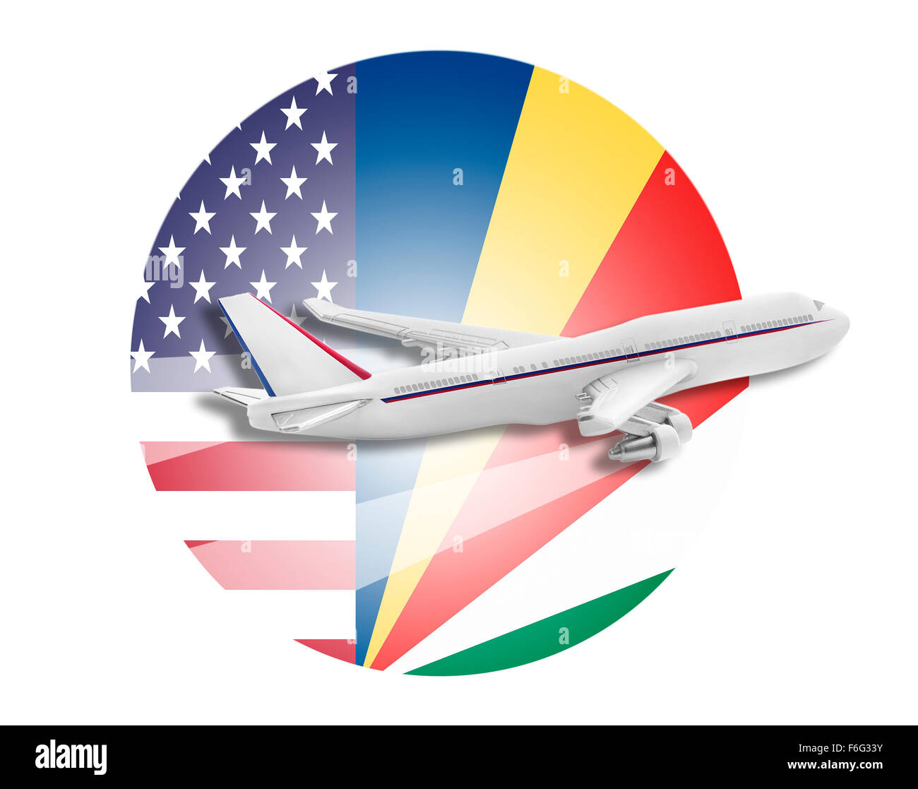 Plane, United States and Seychelles flags. - Stock Image