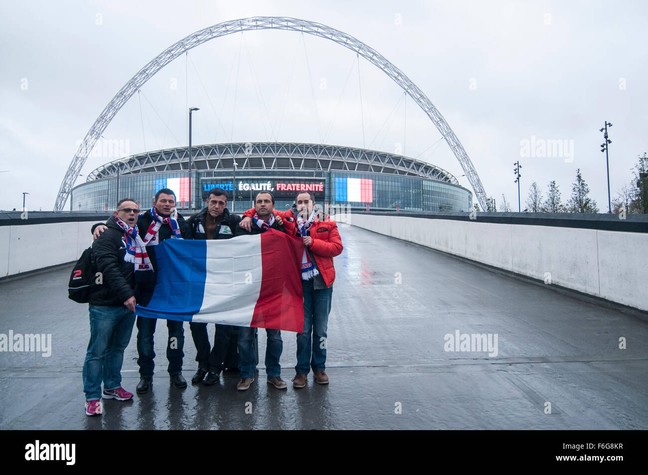 London, UK.  17 November 2015.  French supporters start arriving at Wembley Stadium ahead of the football friendly - Stock Image